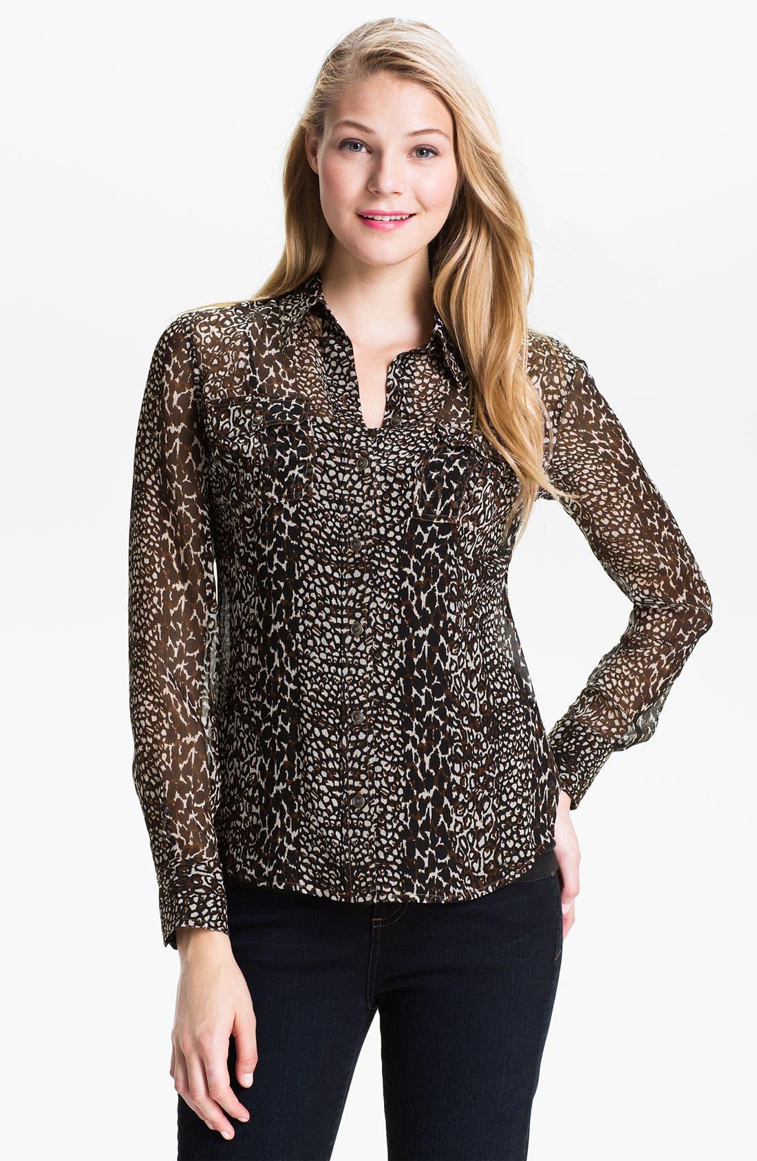 Alternate Image 1 Selected - Lucky Brand 'Joan' Animal Print Silk Blouse