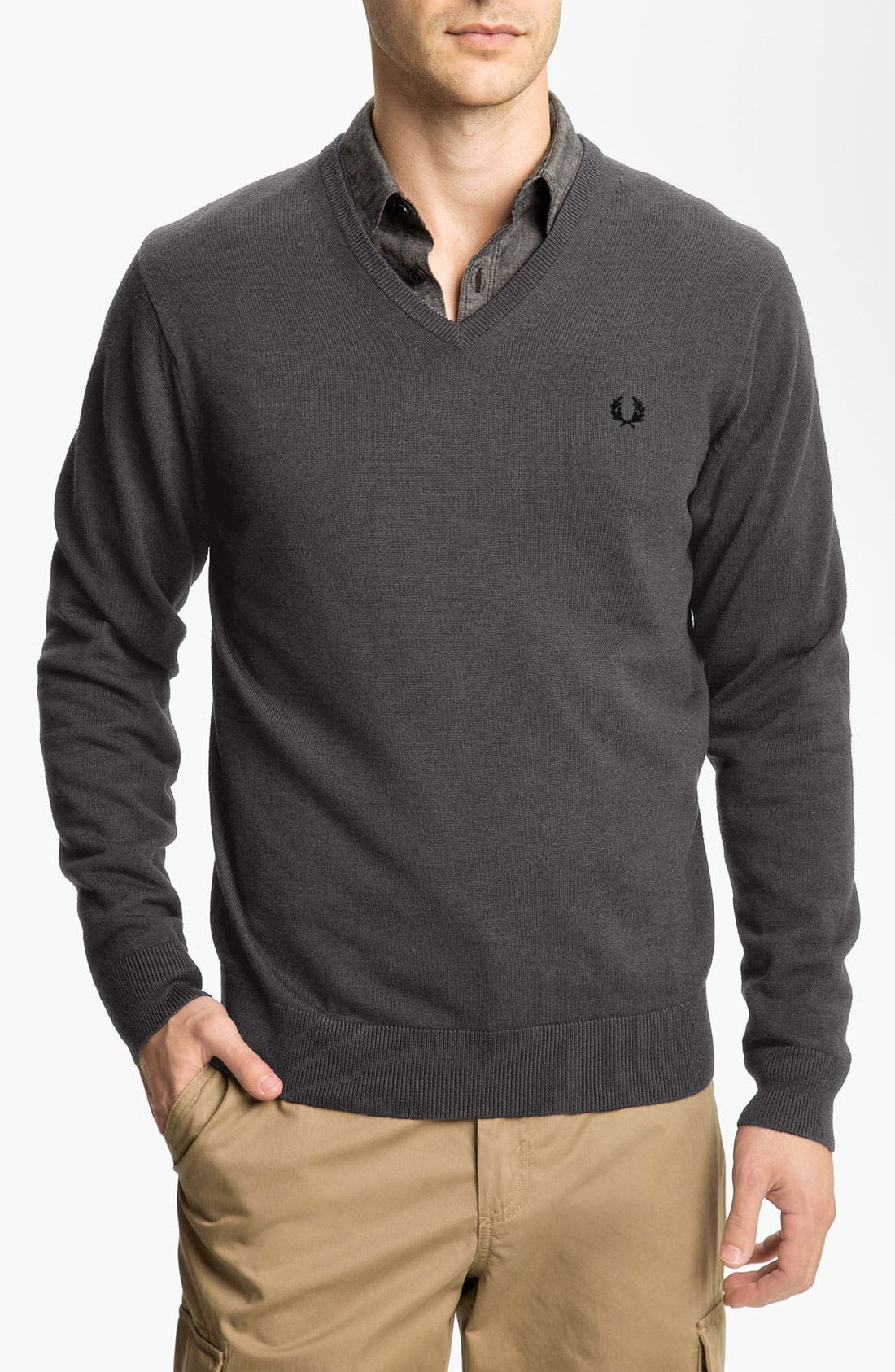 Alternate Image 1 Selected - Fred Perry V-Neck Merino Wool & Cotton Sweater