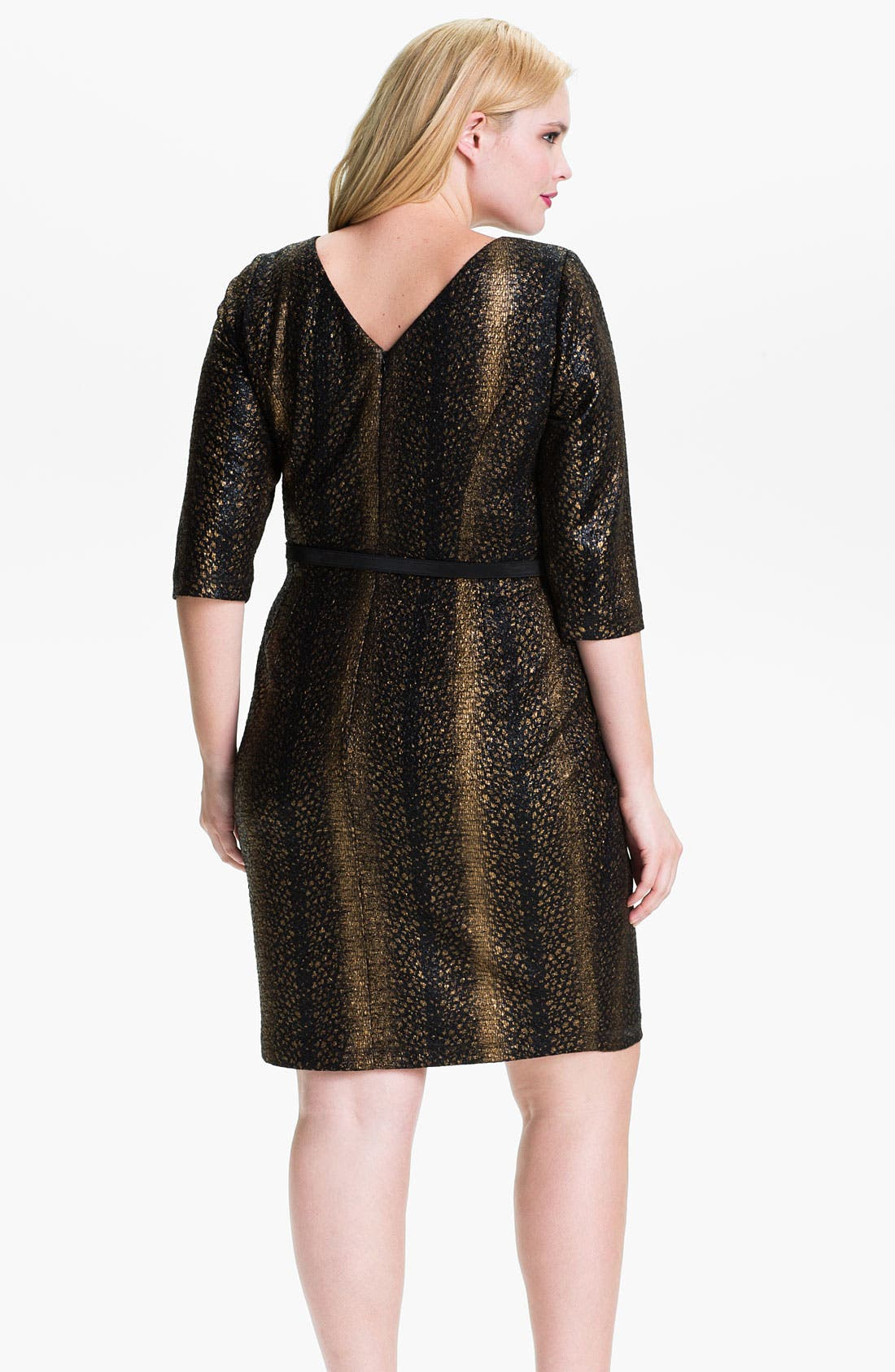 Alternate Image 2  - Alex Evenings Belted Jacquard Sheath Dress (Plus)