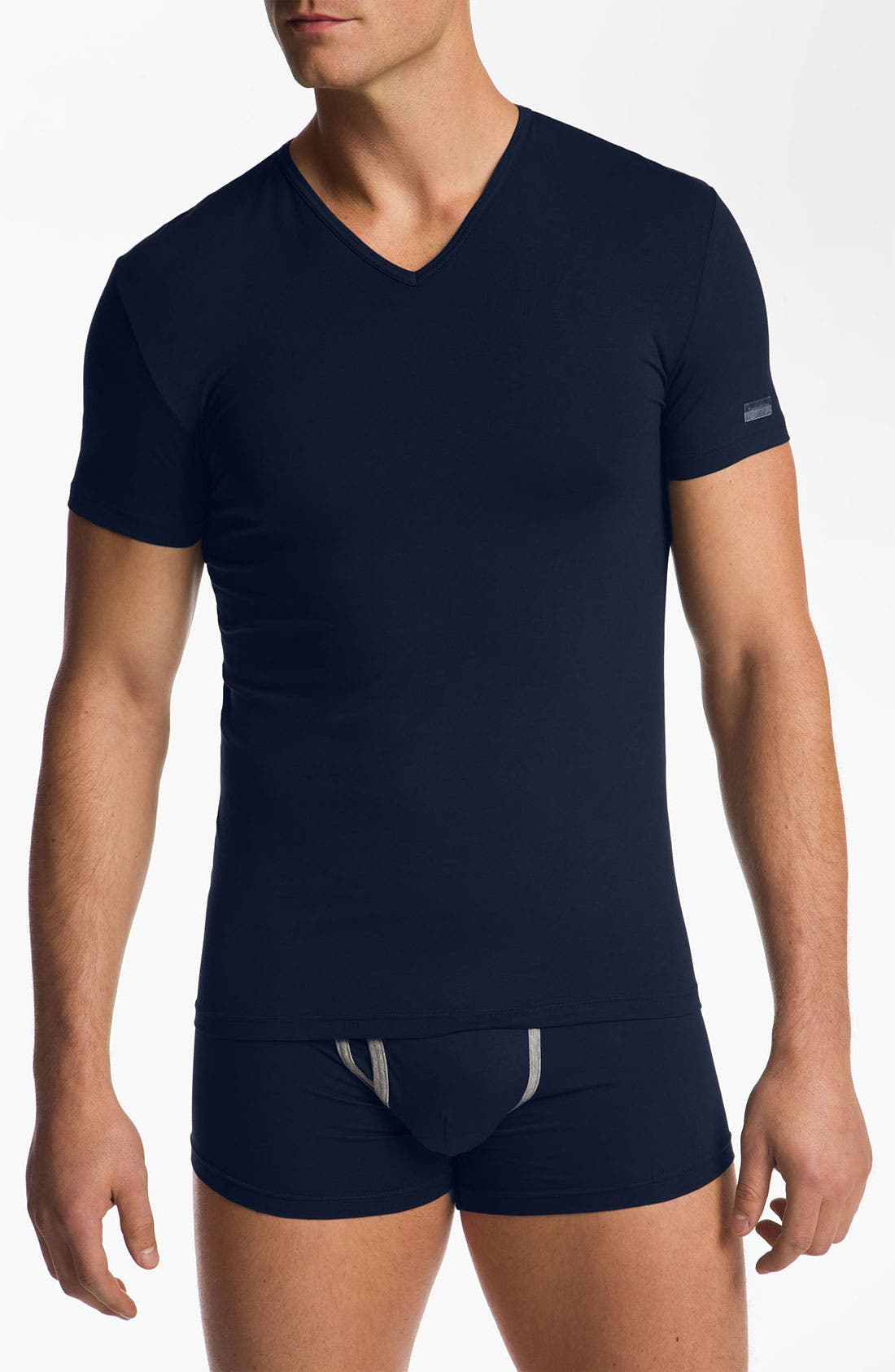 Main Image - Ermenegildo Zegna Stretch Cotton V-Neck T-Shirt