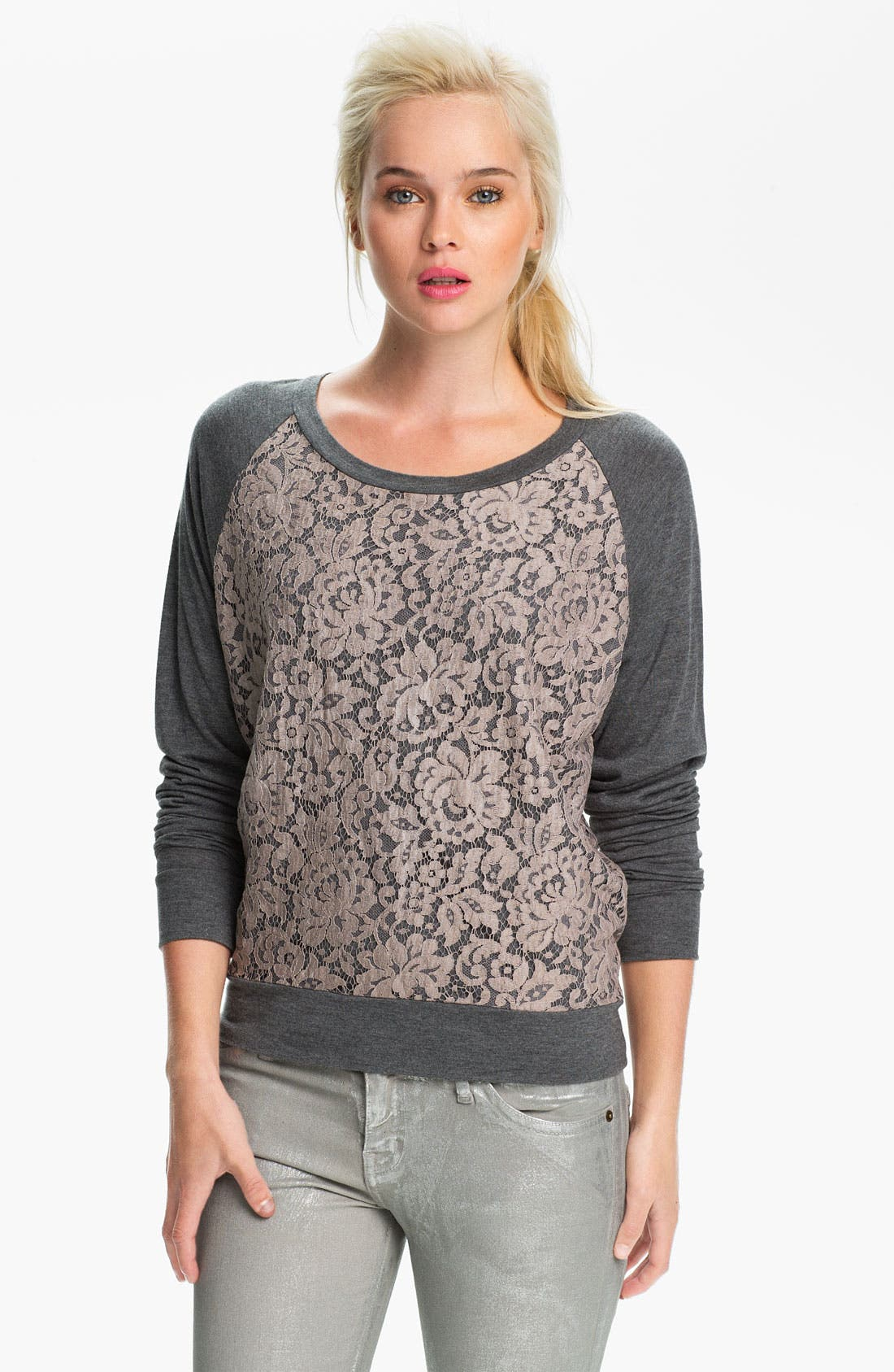 Alternate Image 1 Selected - Haute Hippie Lace Sweatshirt