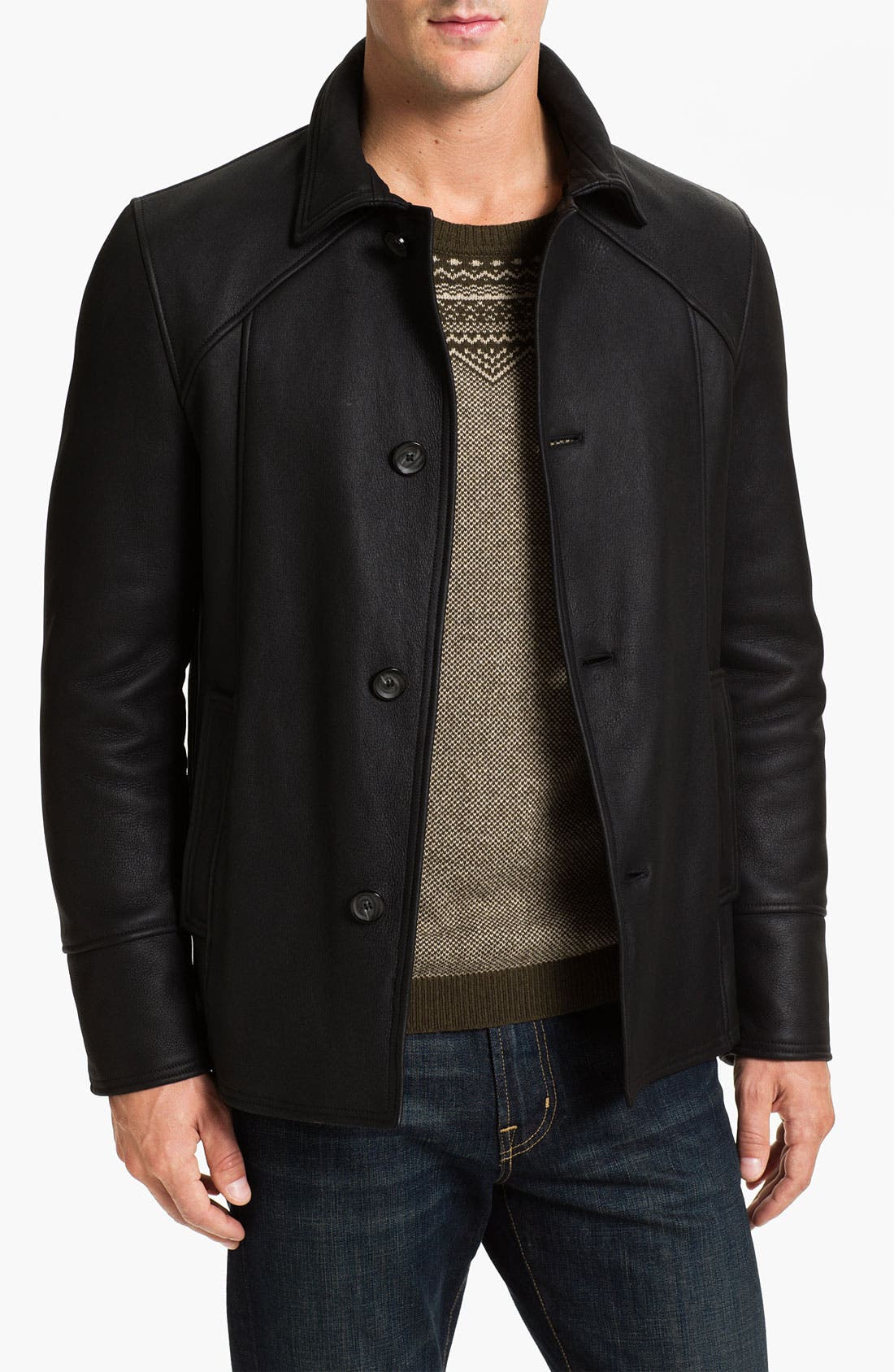 Main Image - Alex & Co. Single Breasted Leather Coat with Genuine Shearling Lining