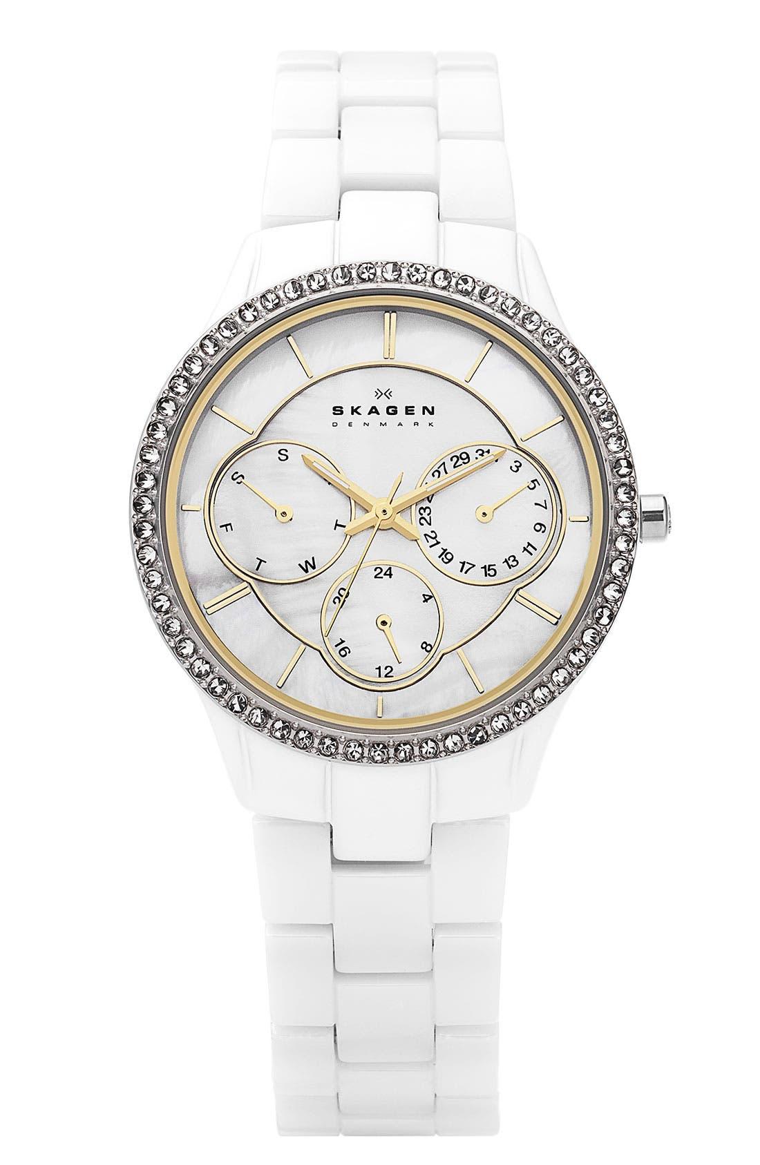 Alternate Image 1 Selected - Skagen Round Crystal Bezel Ceramic Watch