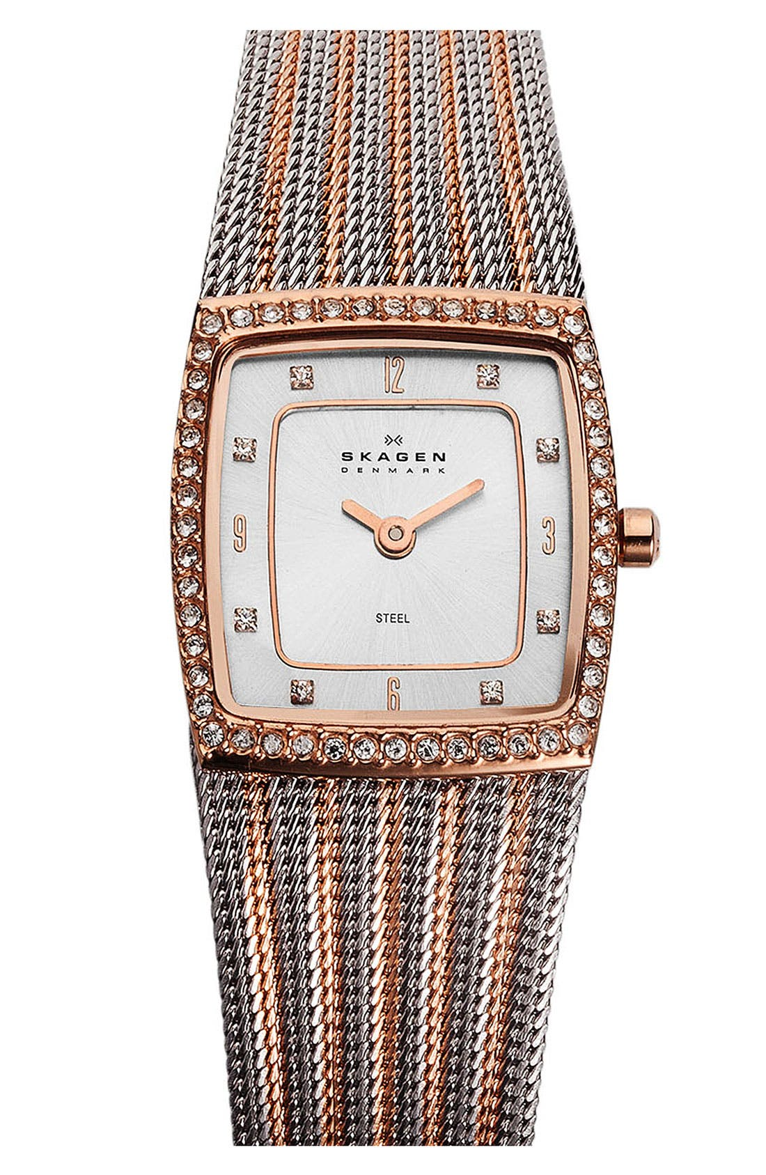 Main Image - Skagen Square Mesh Strap Watch