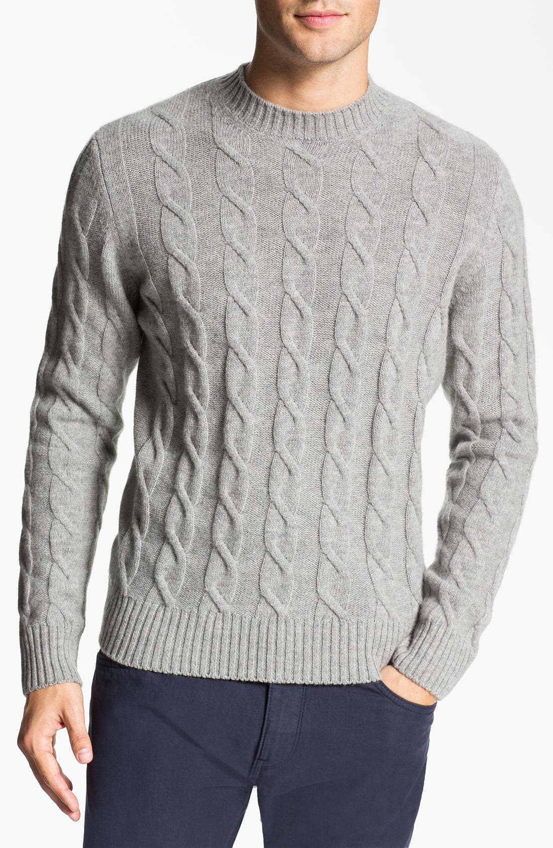 Main Image - Fausto Reali Vannucci Cable Knit Merino Wool & Cashmere Sweater