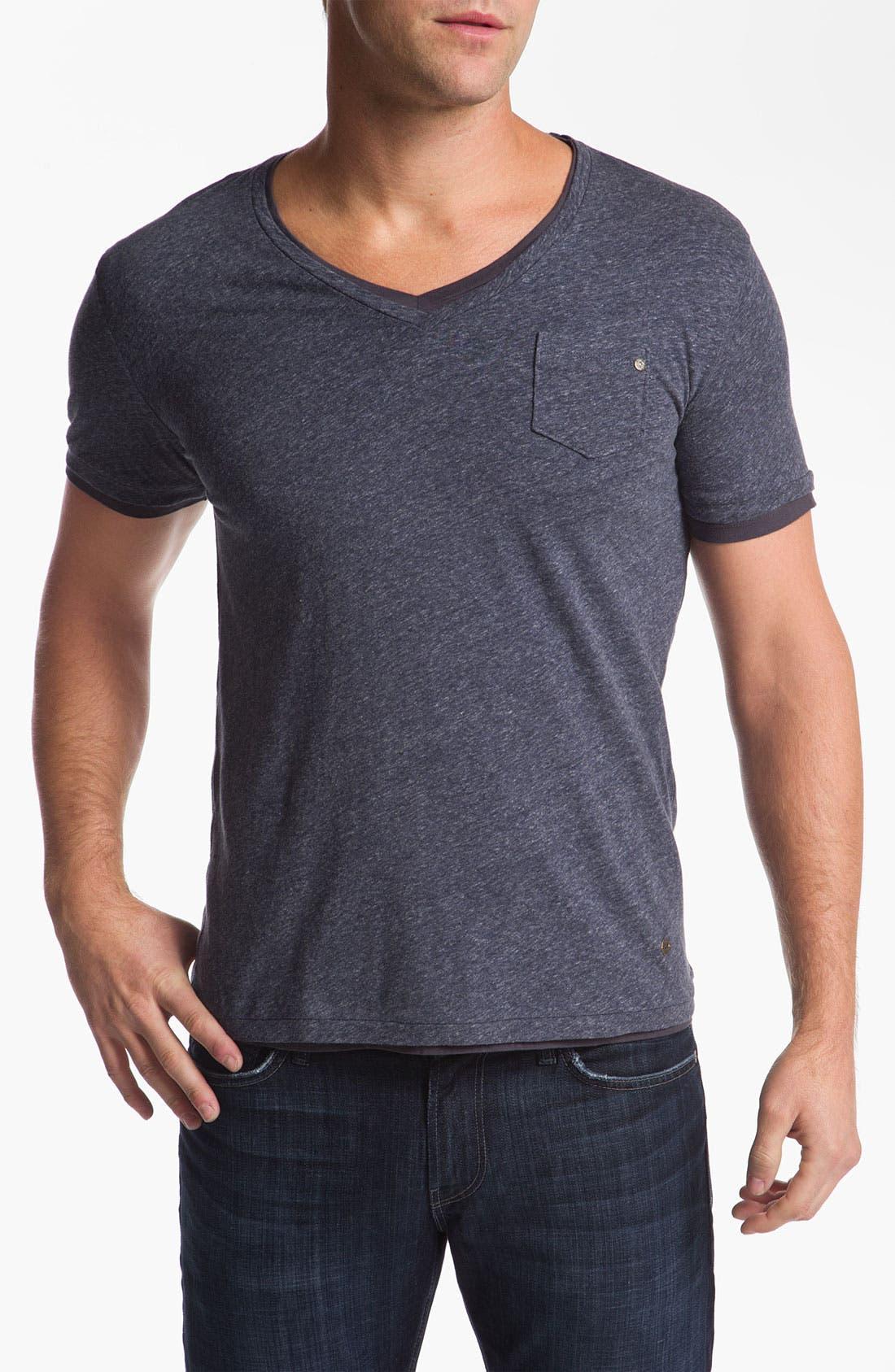 Alternate Image 1 Selected - BOSS Orange Trim Fit Double V-Neck T-Shirt
