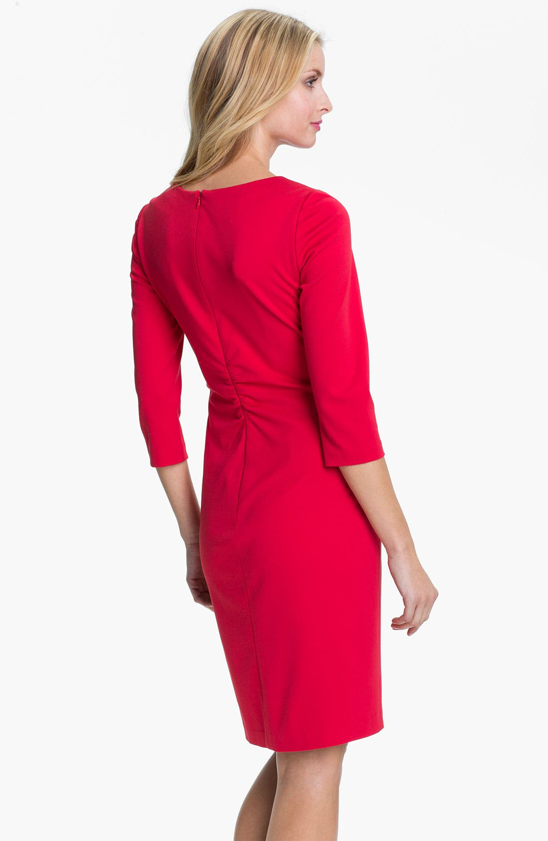 Alternate Image 2  - Kay Unger Asymmetrical Neck Knit Sheath Dress