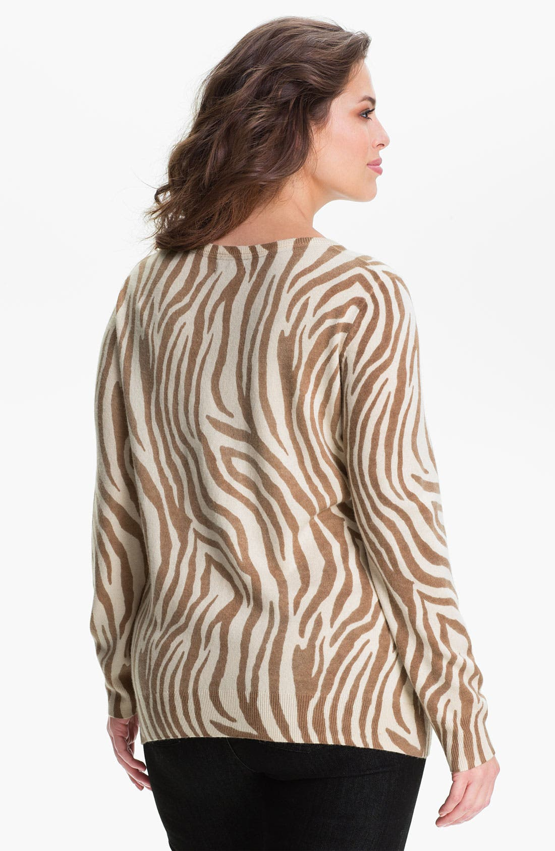 Alternate Image 2  - Lucky Brand Zebra Print Cardigan (Plus)