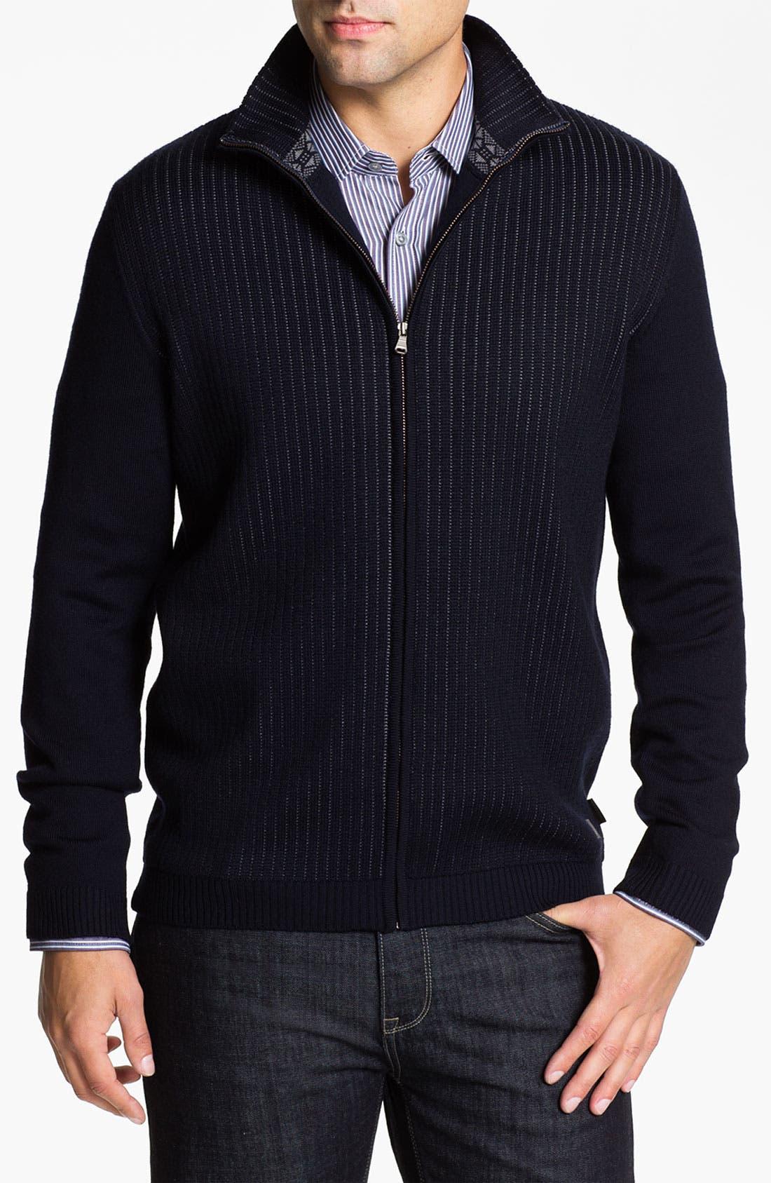 Main Image - BOSS Black 'Laro' Wool Zip Cardigan
