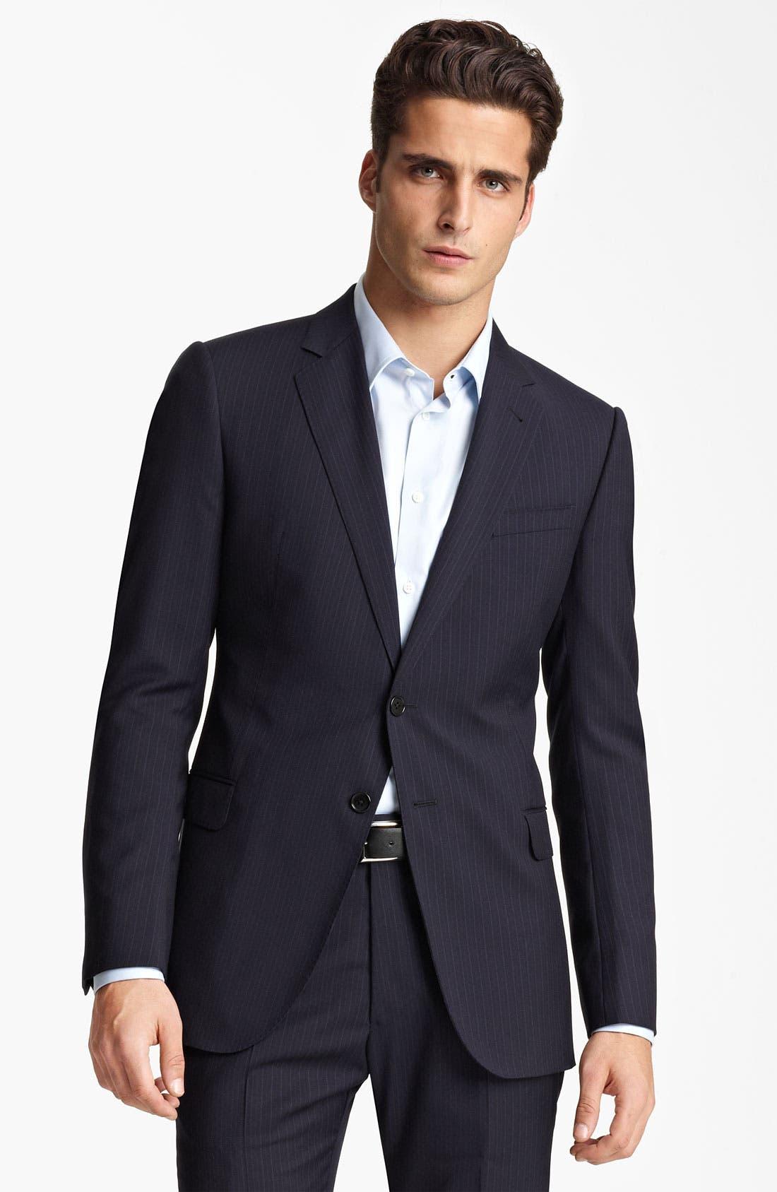 Alternate Image 1 Selected - Armani Collezioni Trim Fit Stripe Suit