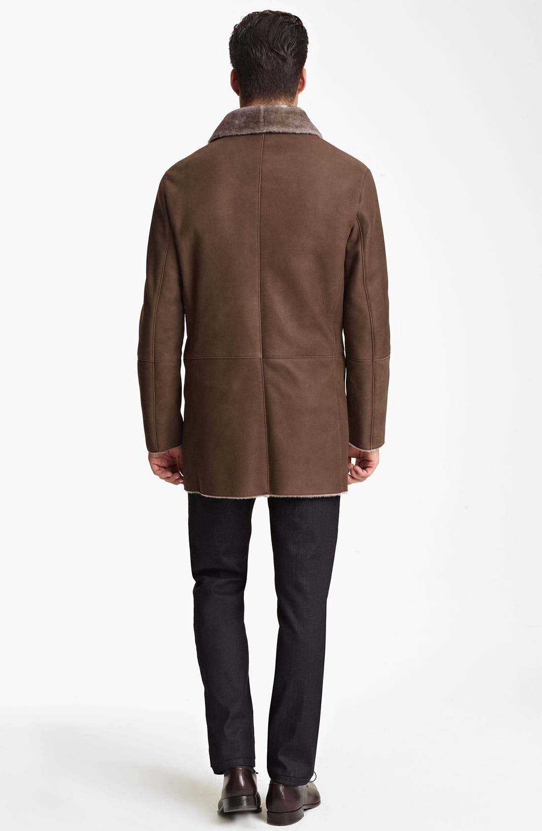 Alternate Image 5  - Armani Collezioni Calfskin Car Coat