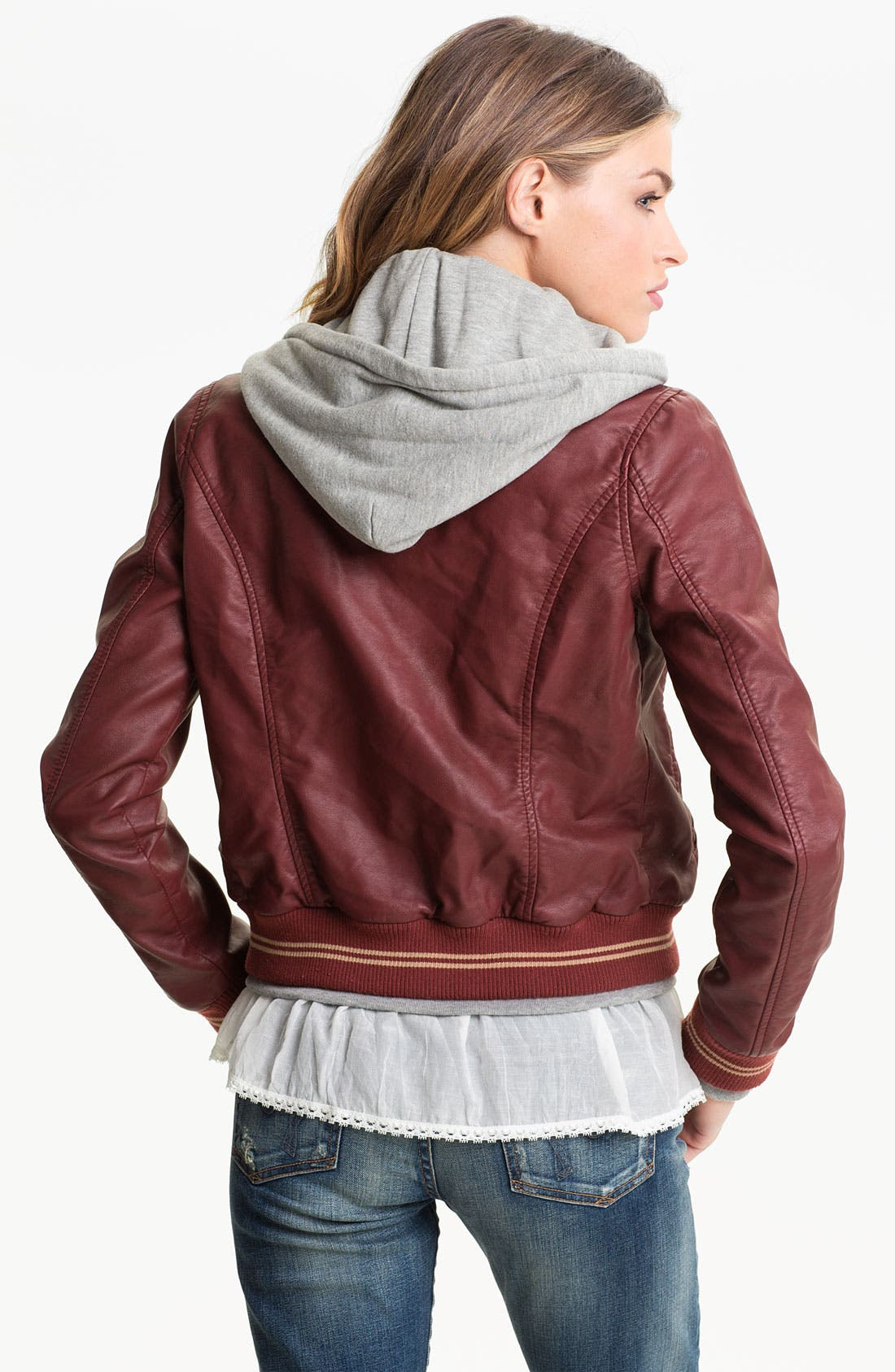 Alternate Image 2  - Obey Layered Look Faux Leather Varsity Jacket