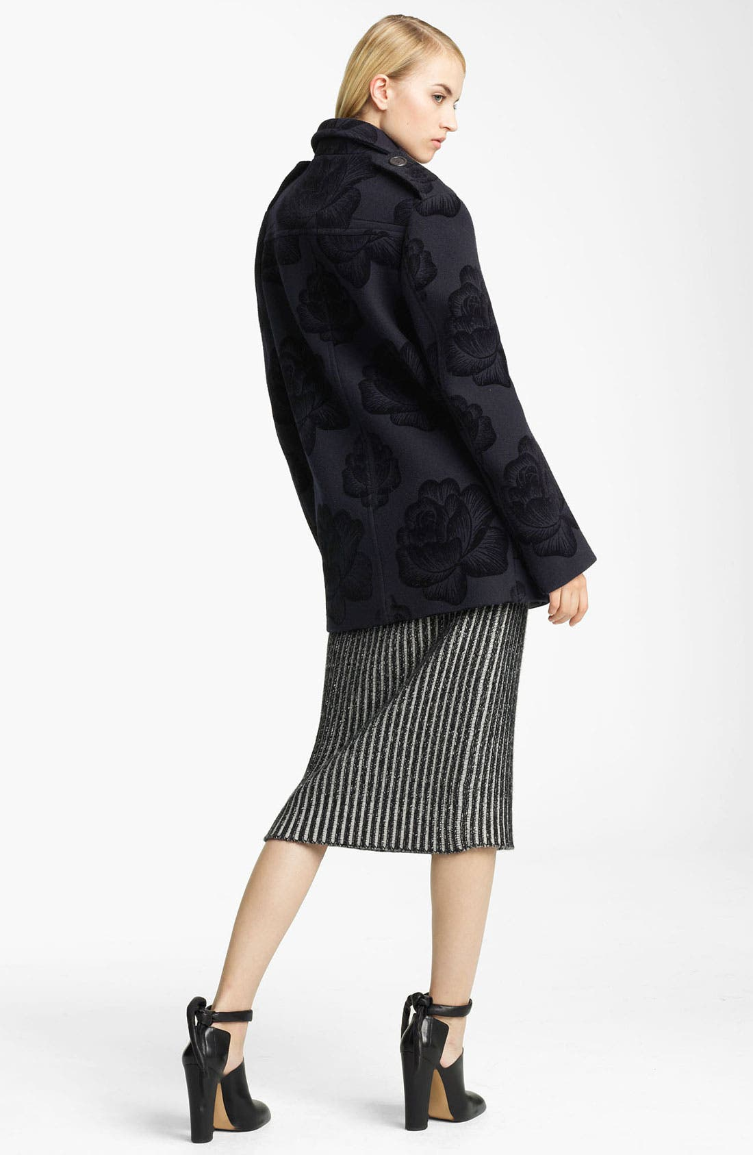 Alternate Image 4  - Christopher Kane Rose Flock Wool Blend Peacoat