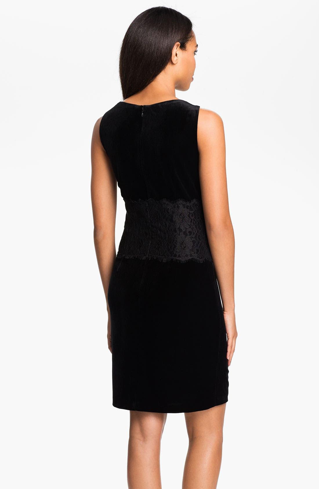 Alternate Image 2  - Donna Morgan Lace Inset Velour Sheath Dress