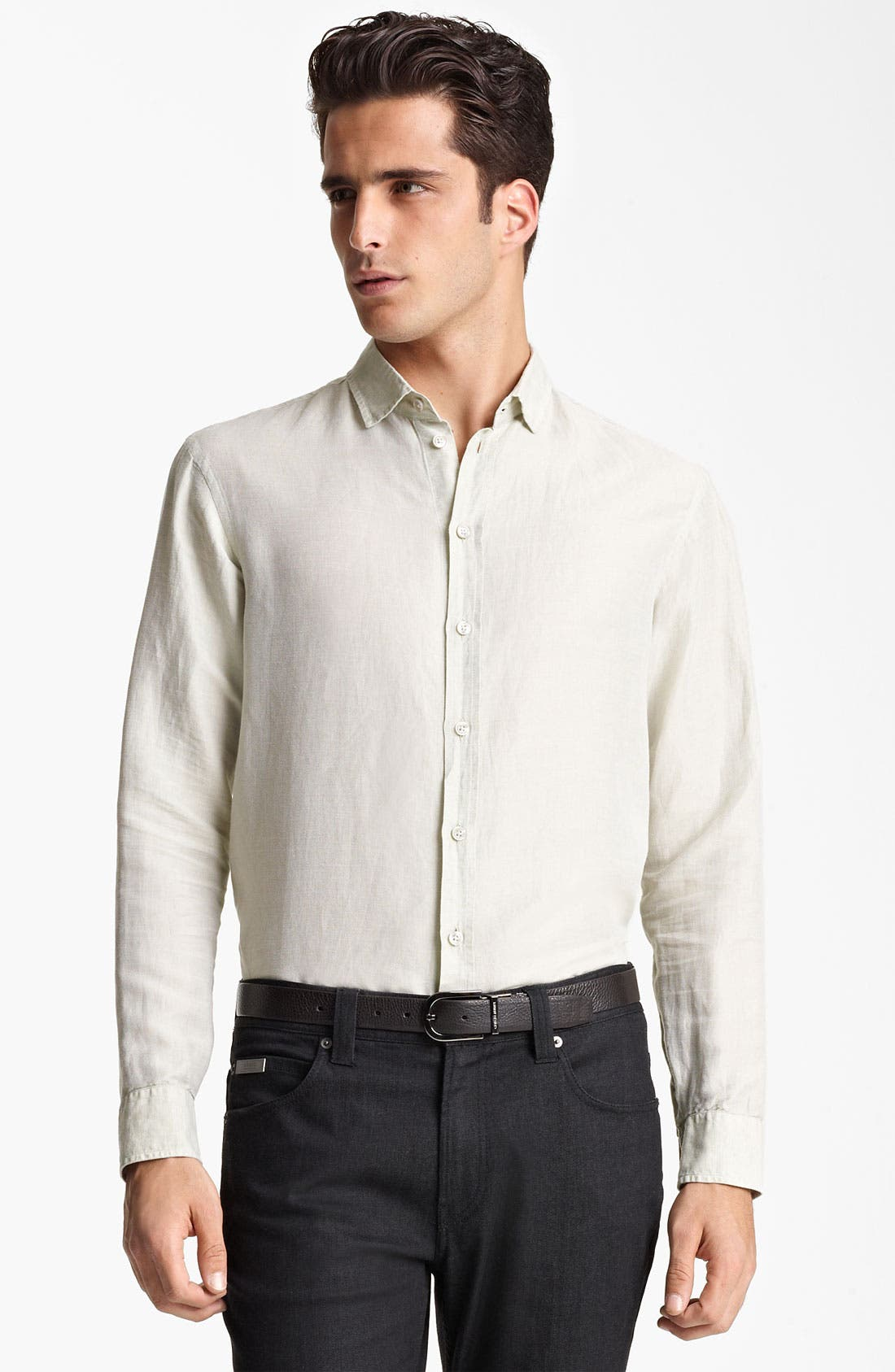 Alternate Image 1 Selected - Armani Collezioni Linen & Cotton Sport Shirt