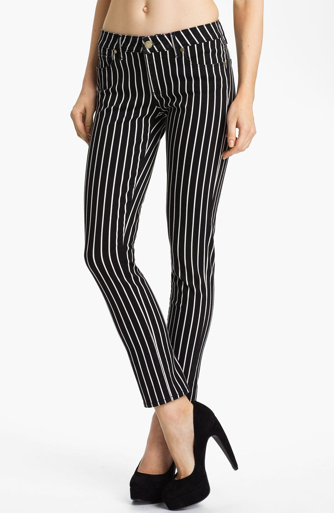Main Image - Paige Denim 'Skyline' Skinny Stretch Ankle Jeans (Black/White)