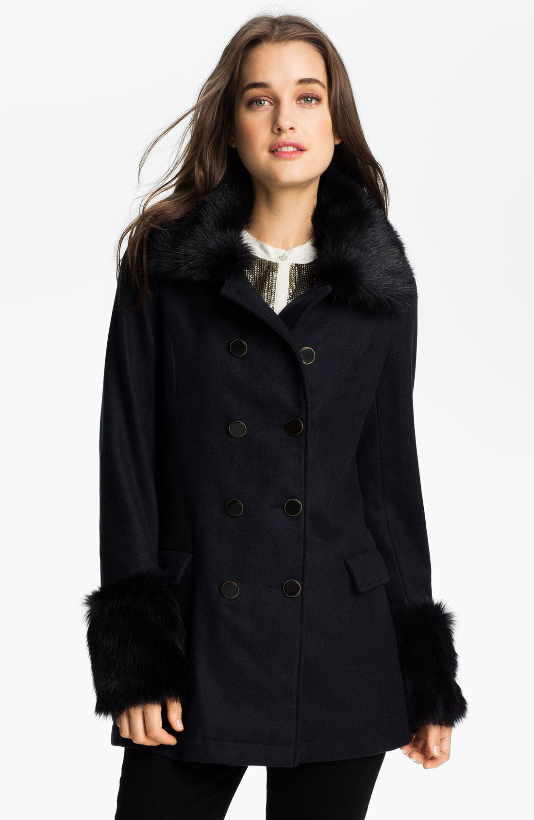 Alternate Image 1 Selected - Ella Moss 'Salem' Faux Fur Trim Jacket