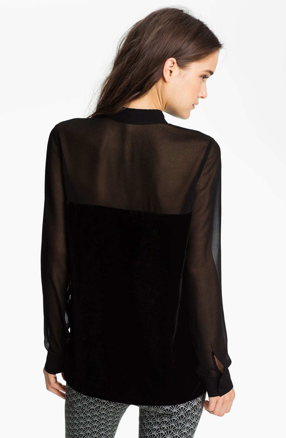 Alternate Image 2  - Hinge® Chiffon & Velvet Mixed Media Shirt
