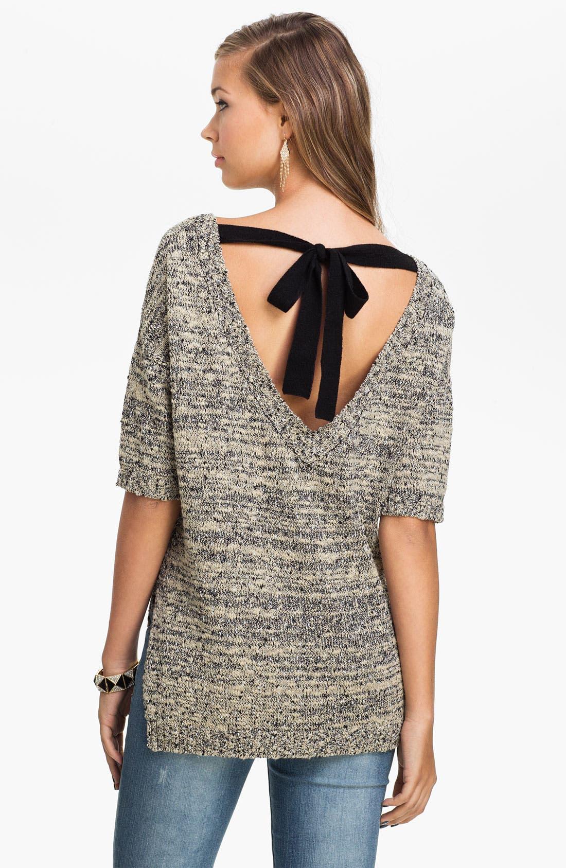 Alternate Image 1 Selected - Love by Design Tie Back Mélange Sweater (Juniors)