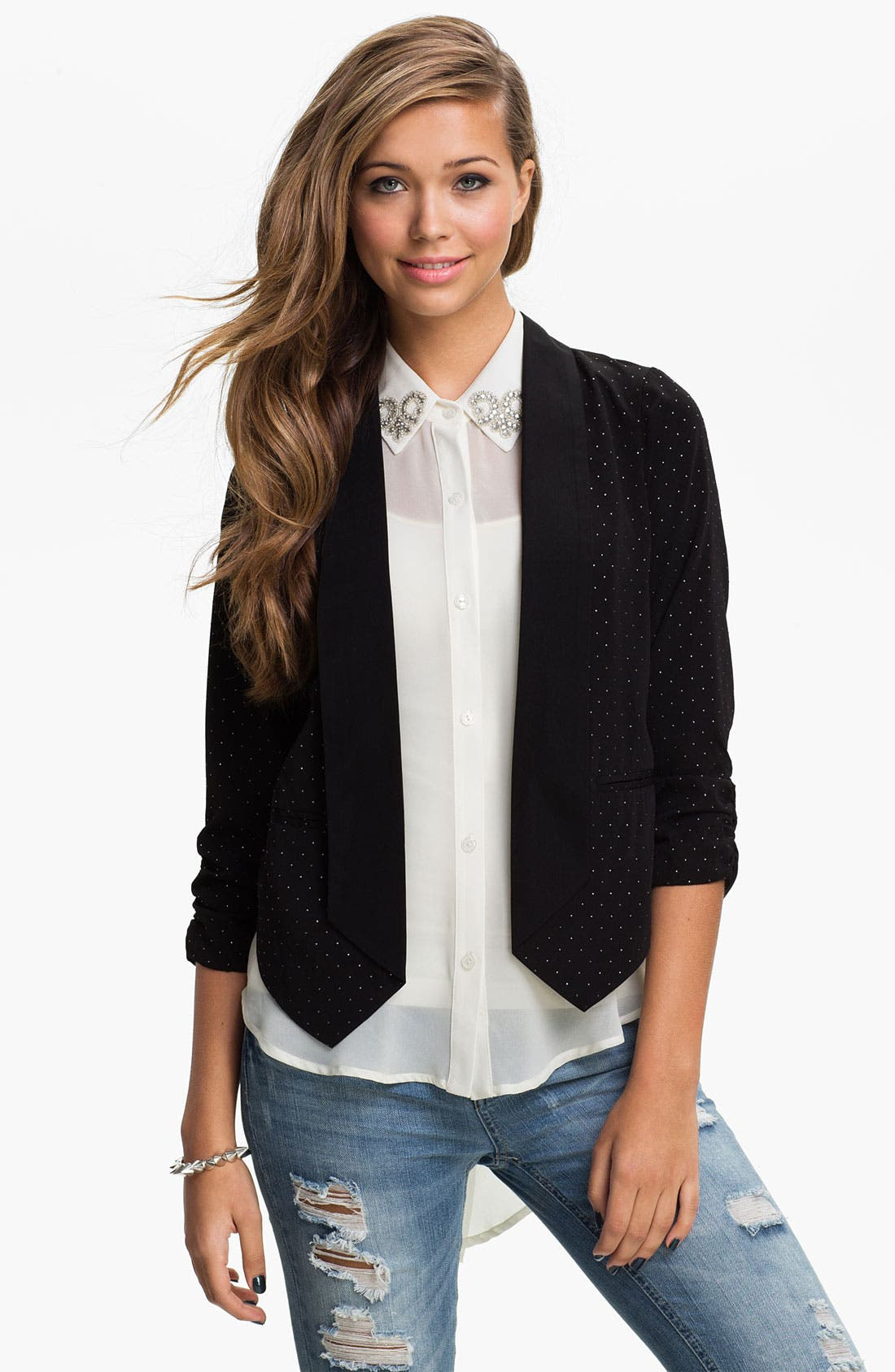 Alternate Image 1 Selected - Stoosh Pindot Stud Blazer (Juniors)