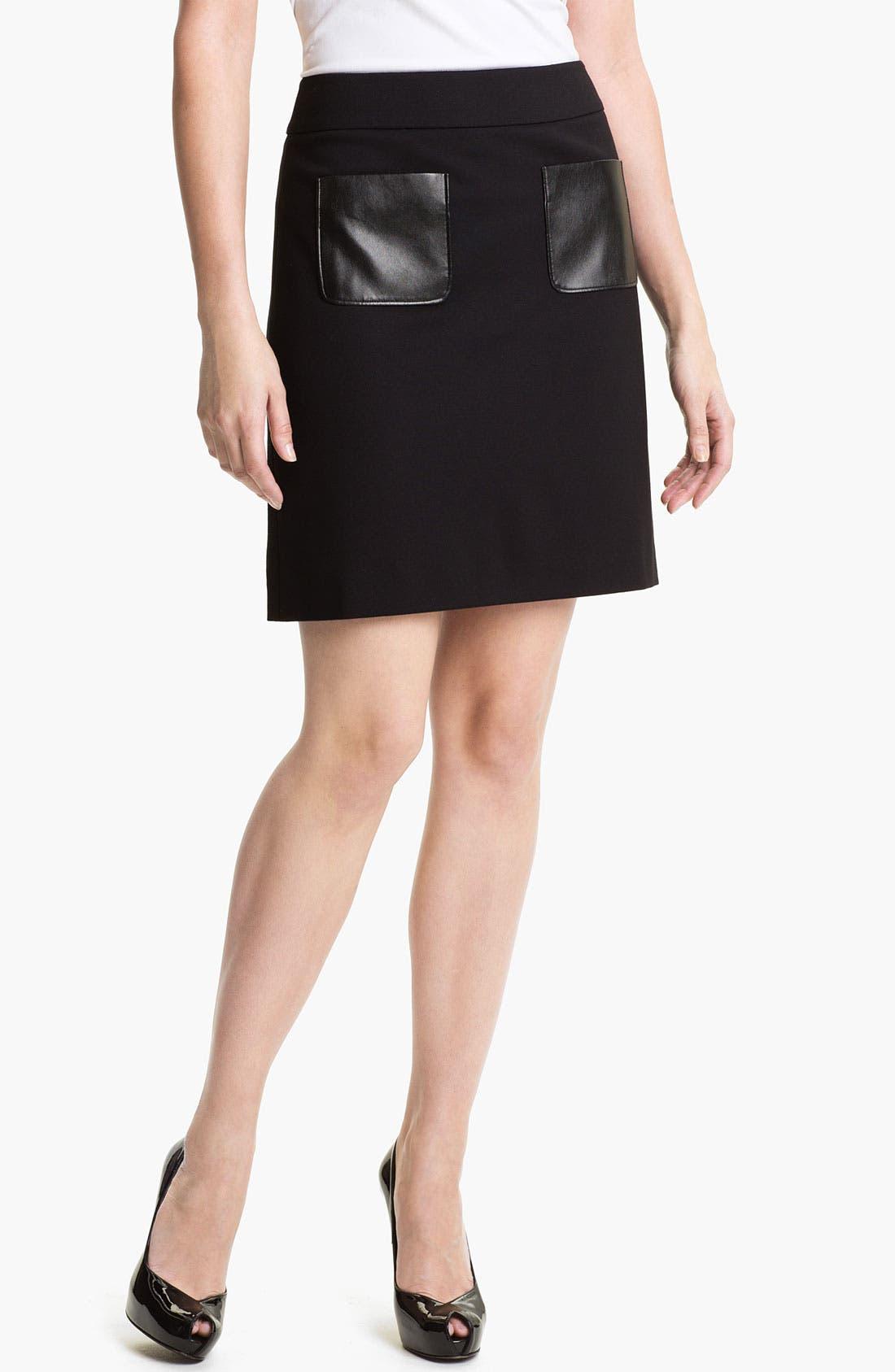 Main Image - Halogen® Faux Leather Trim Ponte Skirt (Petite)