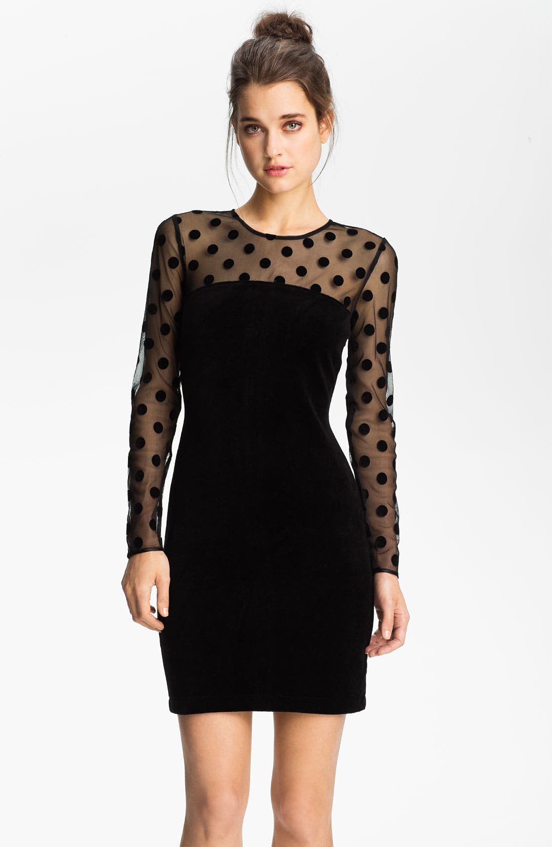 Main Image - Juicy Couture Sheer Polka Dot & Velvet Dress