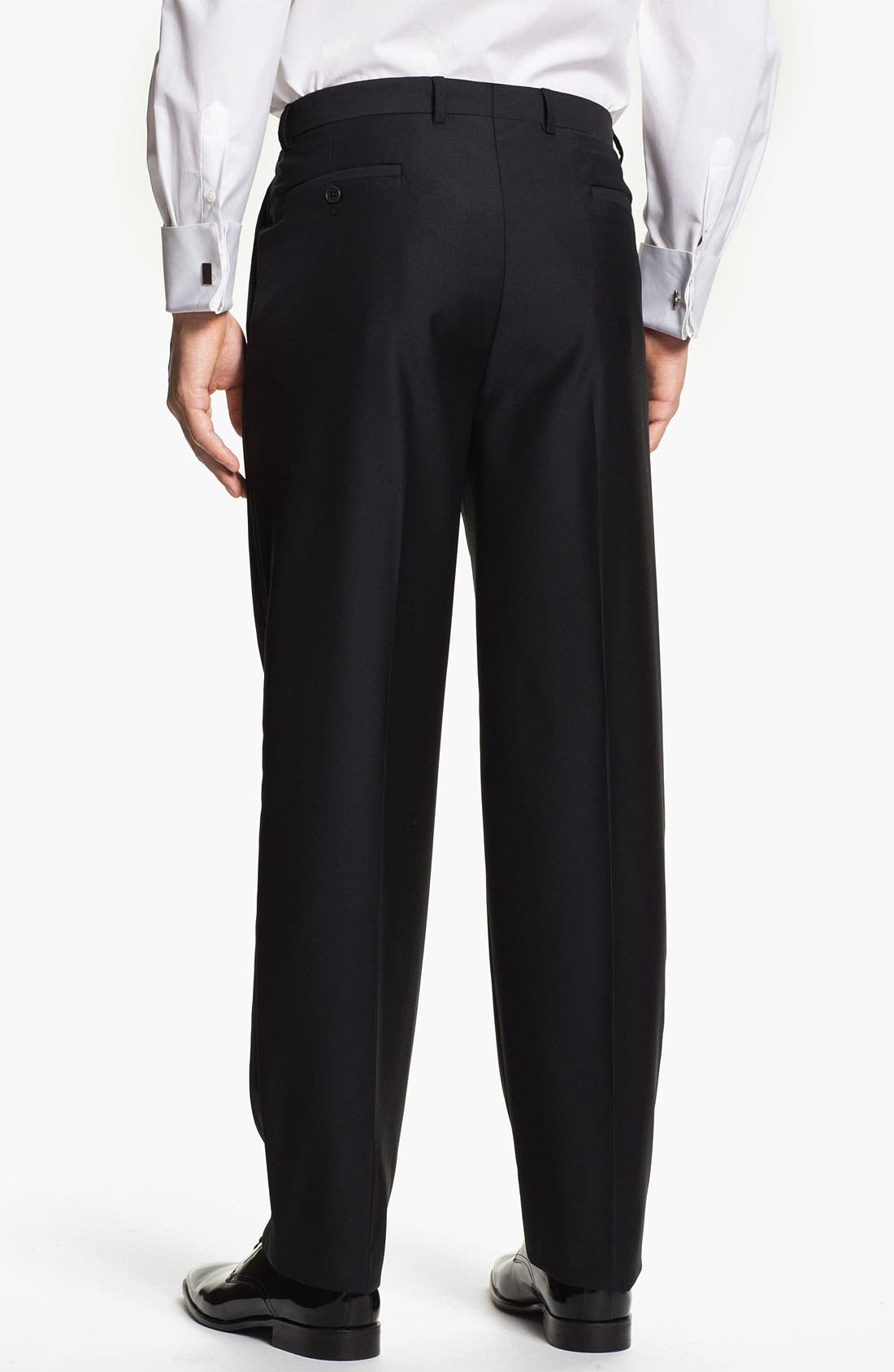 Alternate Image 2  - John W. Nordstrom® Signature Flat Front Tuxedo Trousers