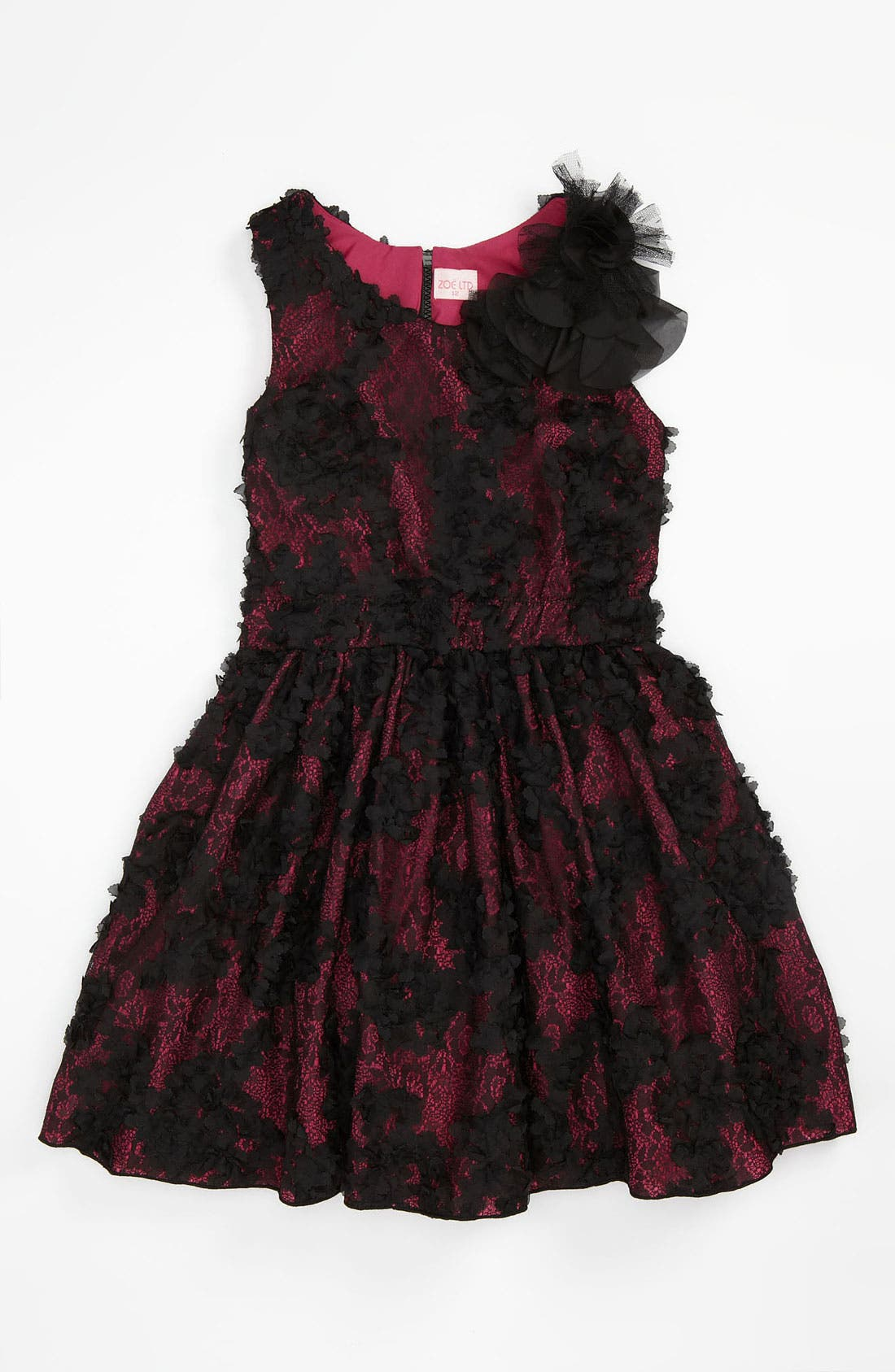 Alternate Image 1 Selected - Zoe Ltd Floral Mesh Dress (Big Girls)