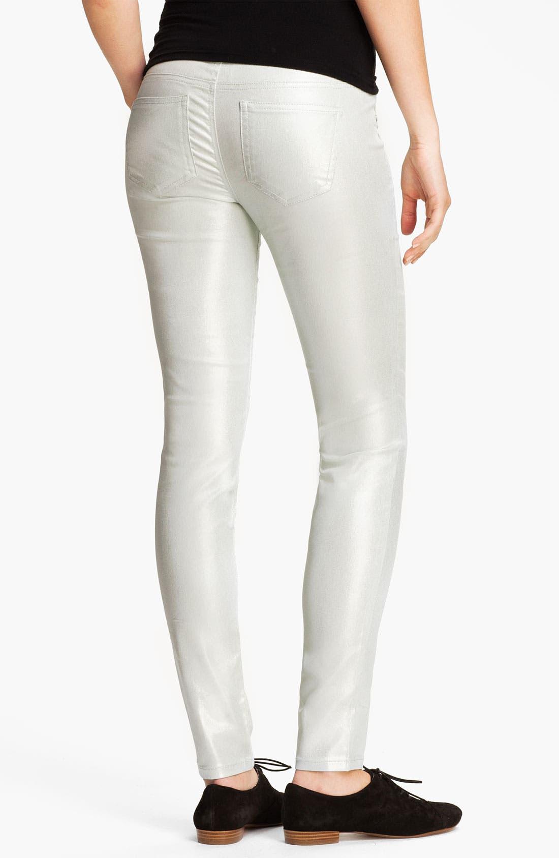Main Image - Fire Pearl Coated Skinny Jeans (Juniors)