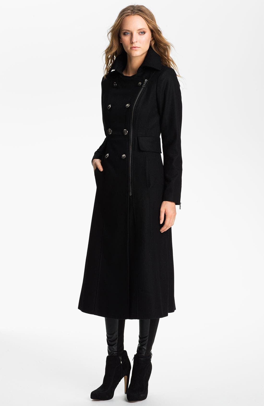 Main Image - GUESS Zip Front Wool Blend Coat (Online Exclusive)
