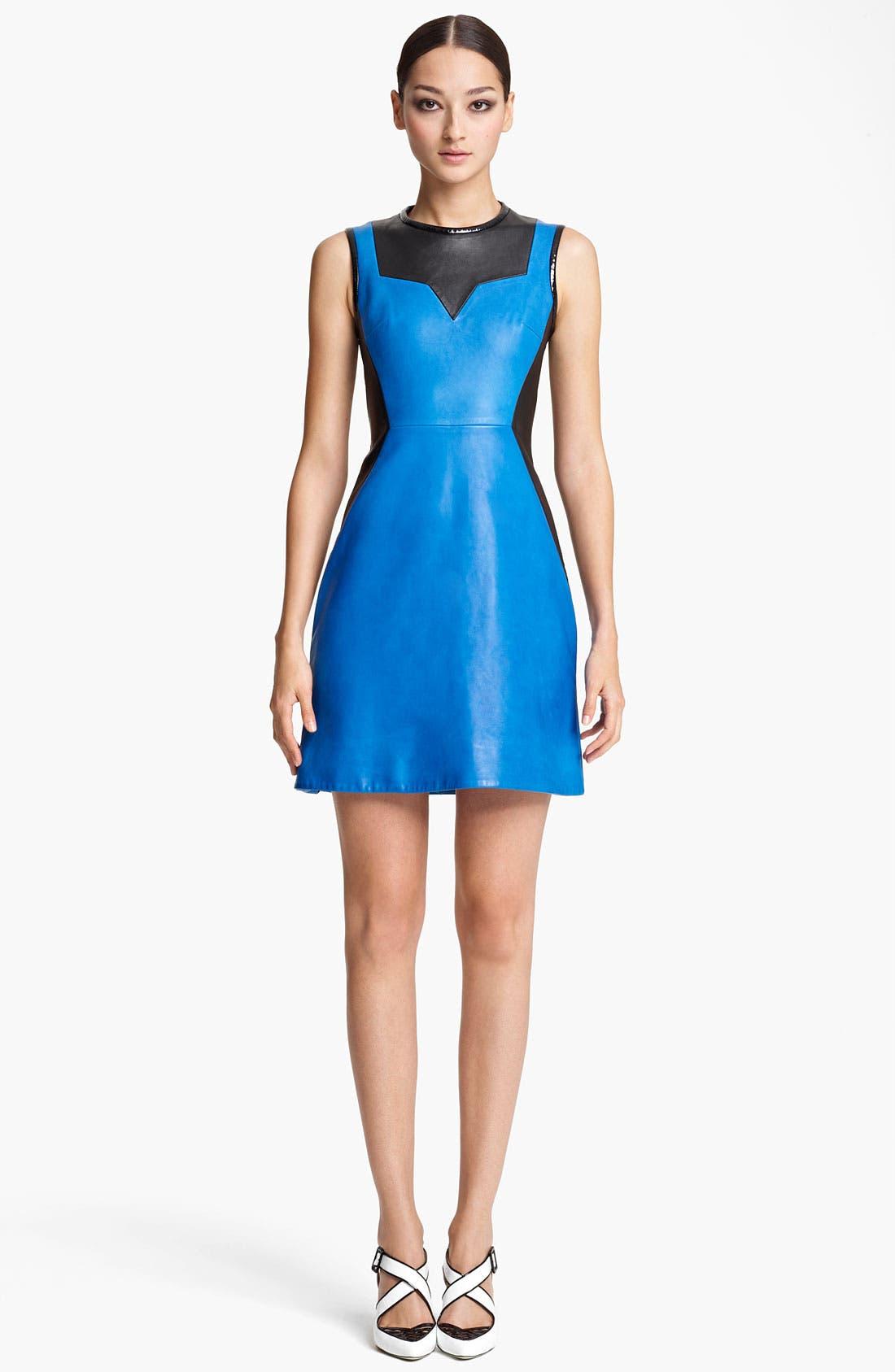 Main Image - Jason Wu Paneled Leather Sheath Dress