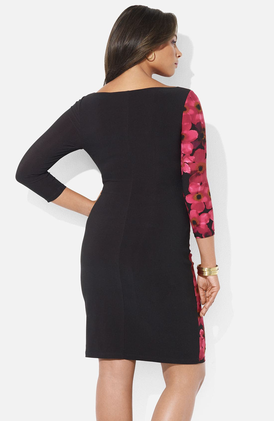 Alternate Image 2  - Lauren Ralph Lauren Floral Print Matte Jersey Sheath Dress (Plus)