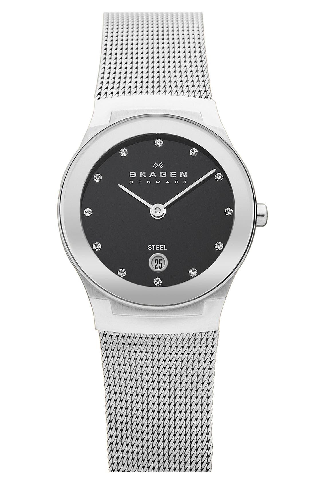 Main Image - Skagen Small Round Mirror Bezel Watch