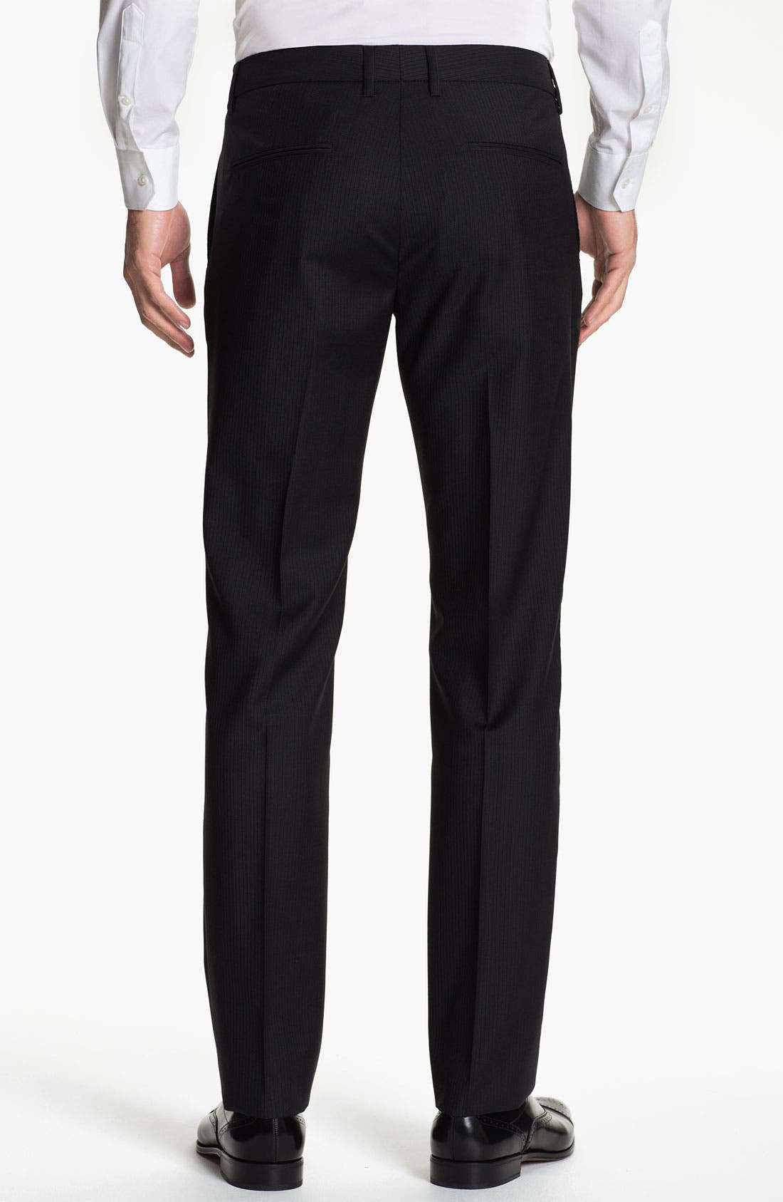Alternate Image 2  - BOSS Black 'Crigan' Pinstriped Flat Front Wool Trousers