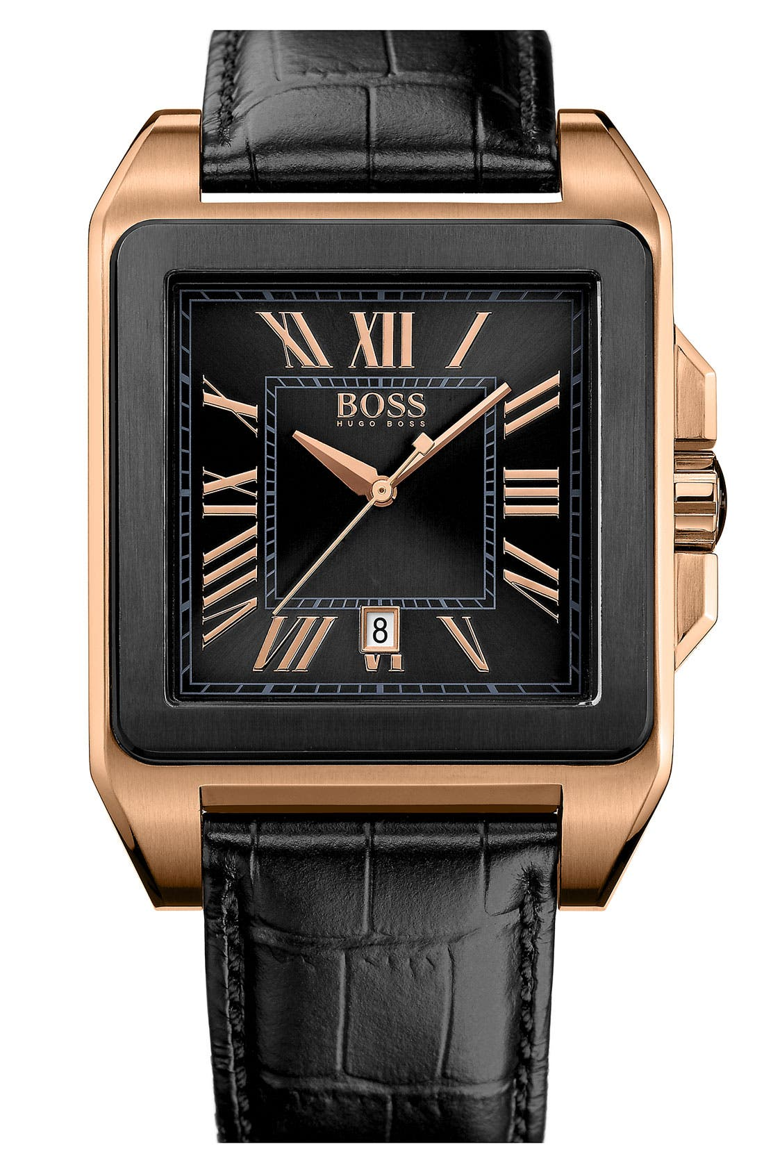 Alternate Image 1 Selected - BOSS HUGO BOSS Square Case Leather Strap Watch, 40mm