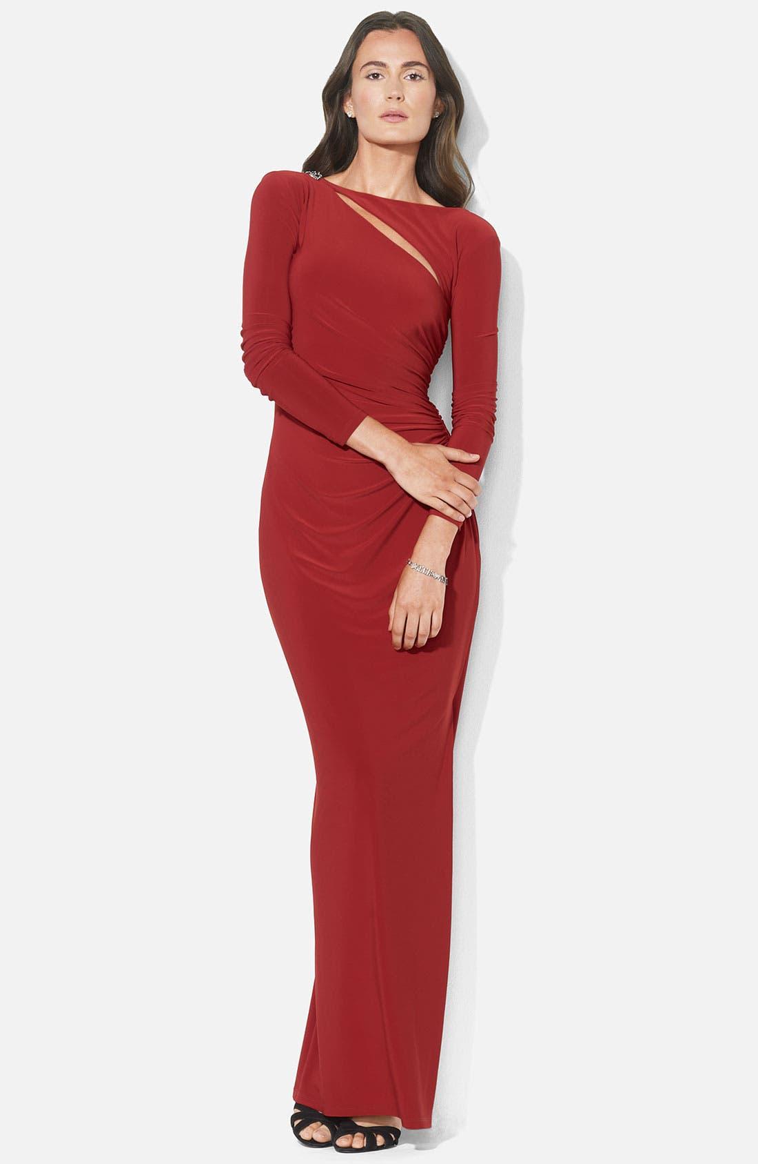 Main Image - Lauren Ralph Lauren Asymmetrical Cutout Jersey Column Gown