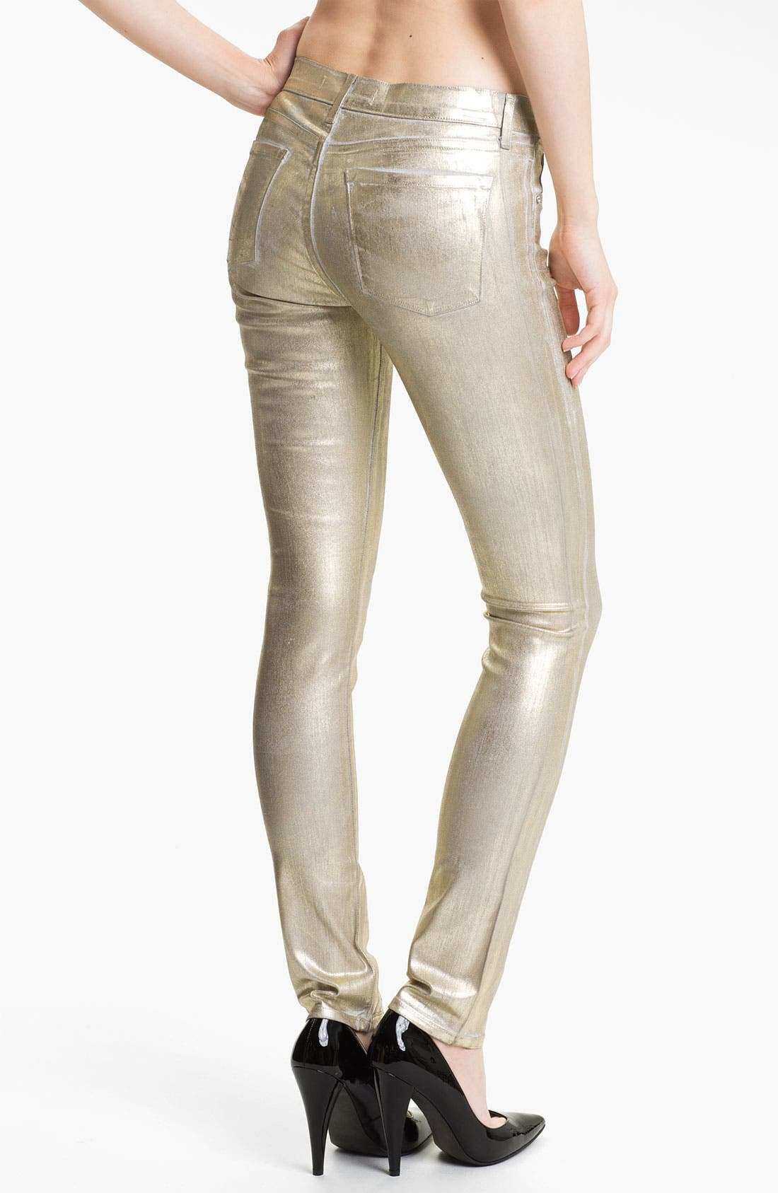 Alternate Image 2  - Juicy Couture Metallic Coated Skinny Jeans (Gold Saturated Foil)