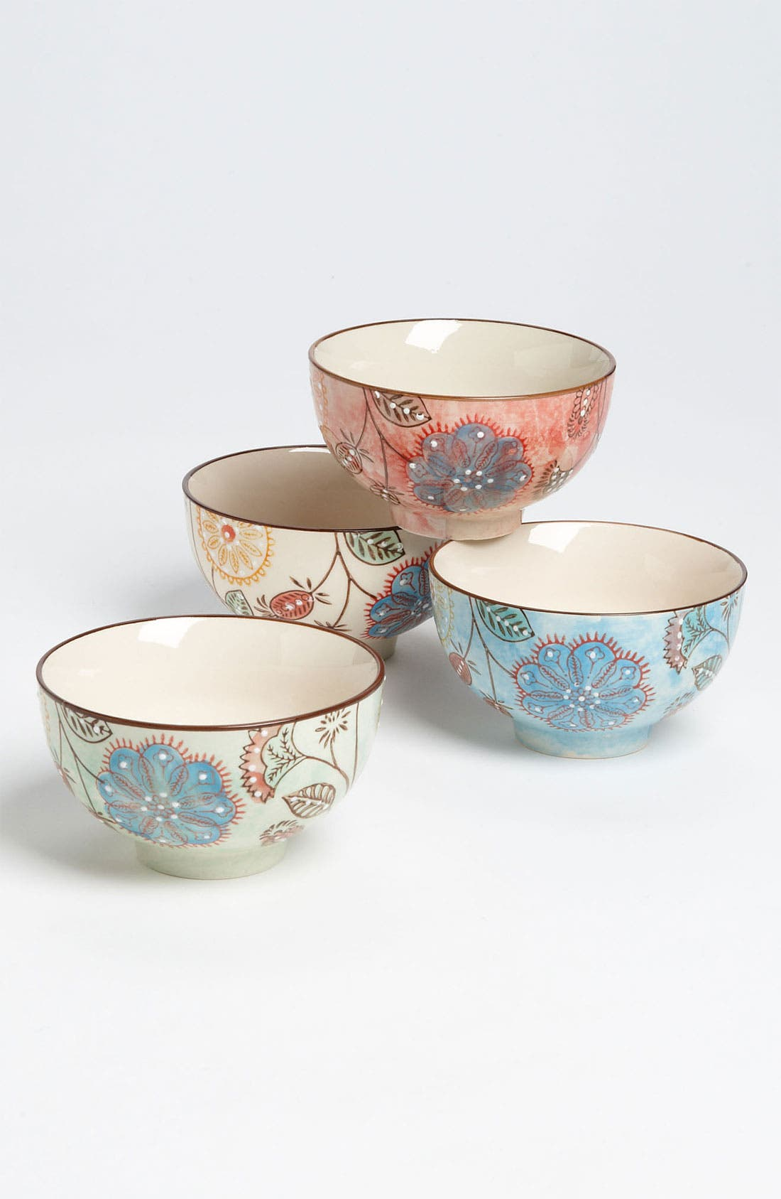 Main Image - Hand Painted Floral Bowls (Set of 4)