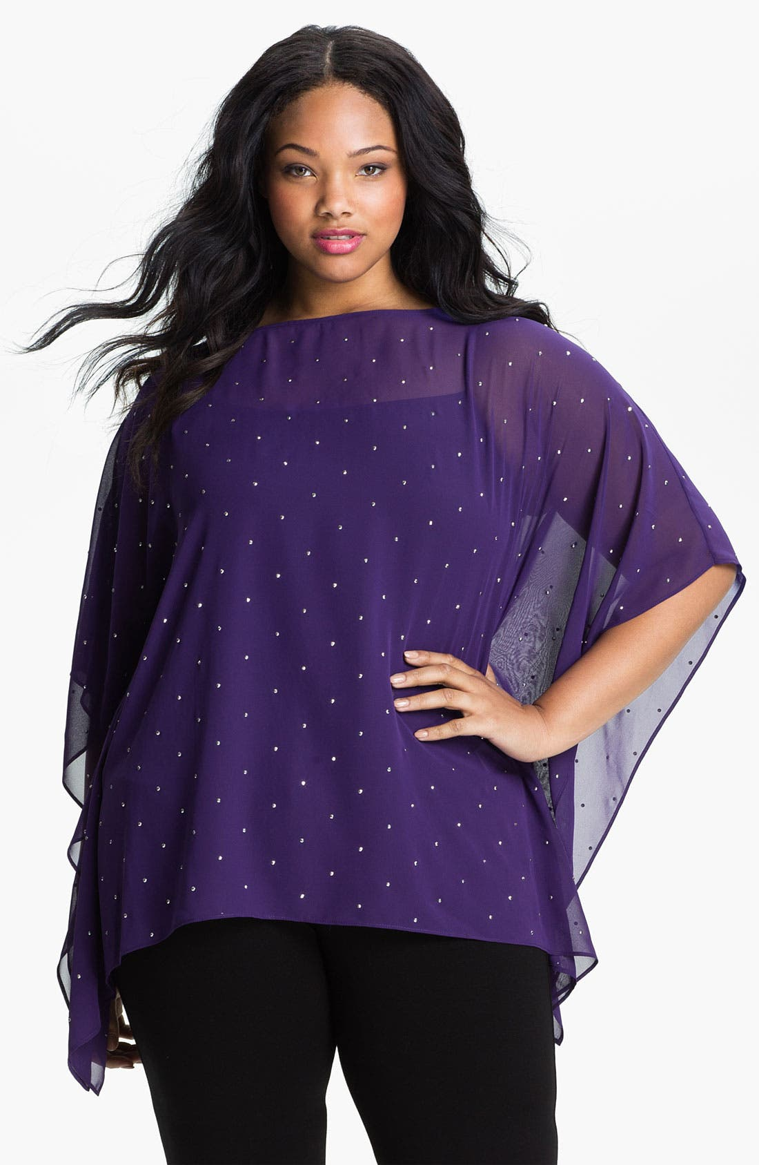 Alternate Image 1 Selected - MICHAEL Michael Kors Studded Poncho (Plus)