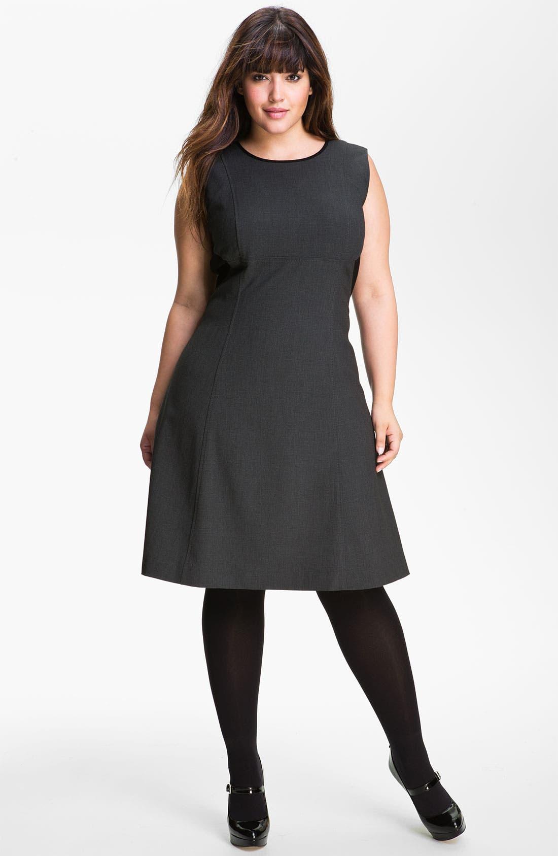 Main Image - Calvin Klein Sleeveless A-Line Dress (Plus)