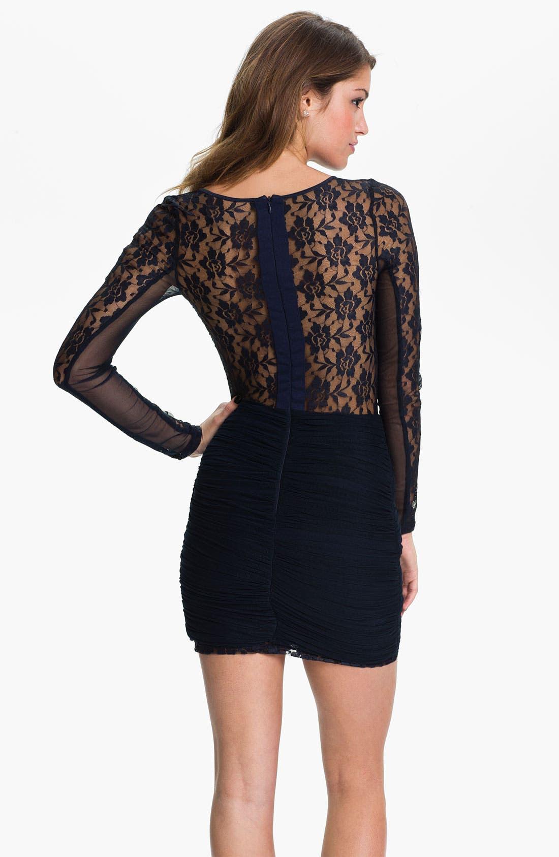 Alternate Image 2  - Keepsake the Label Sheer Sleeve Ruched Jersey Sheath Dress