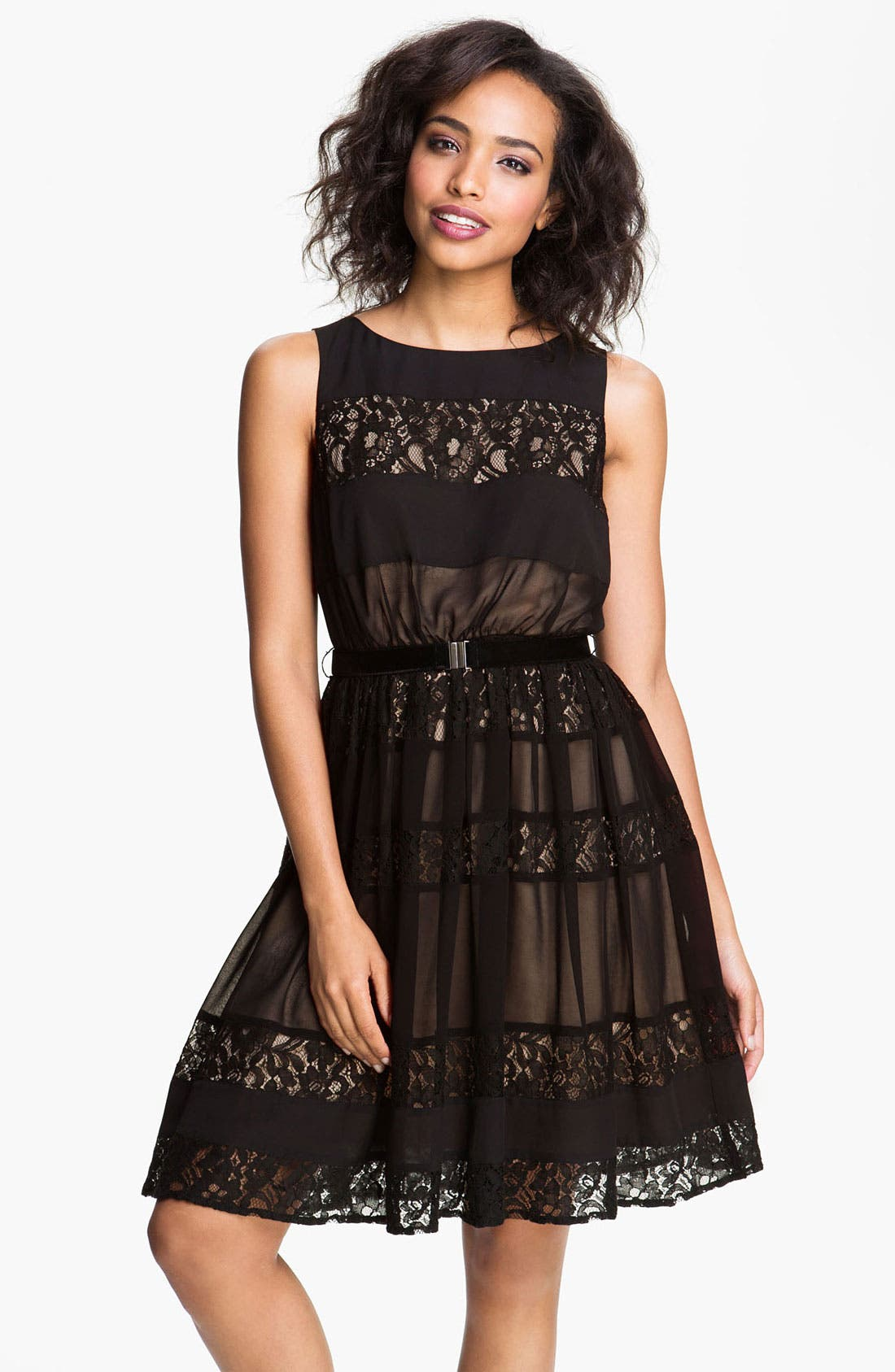 Main Image - Jessica Simpson Lace Inset Fit & Flare Dress