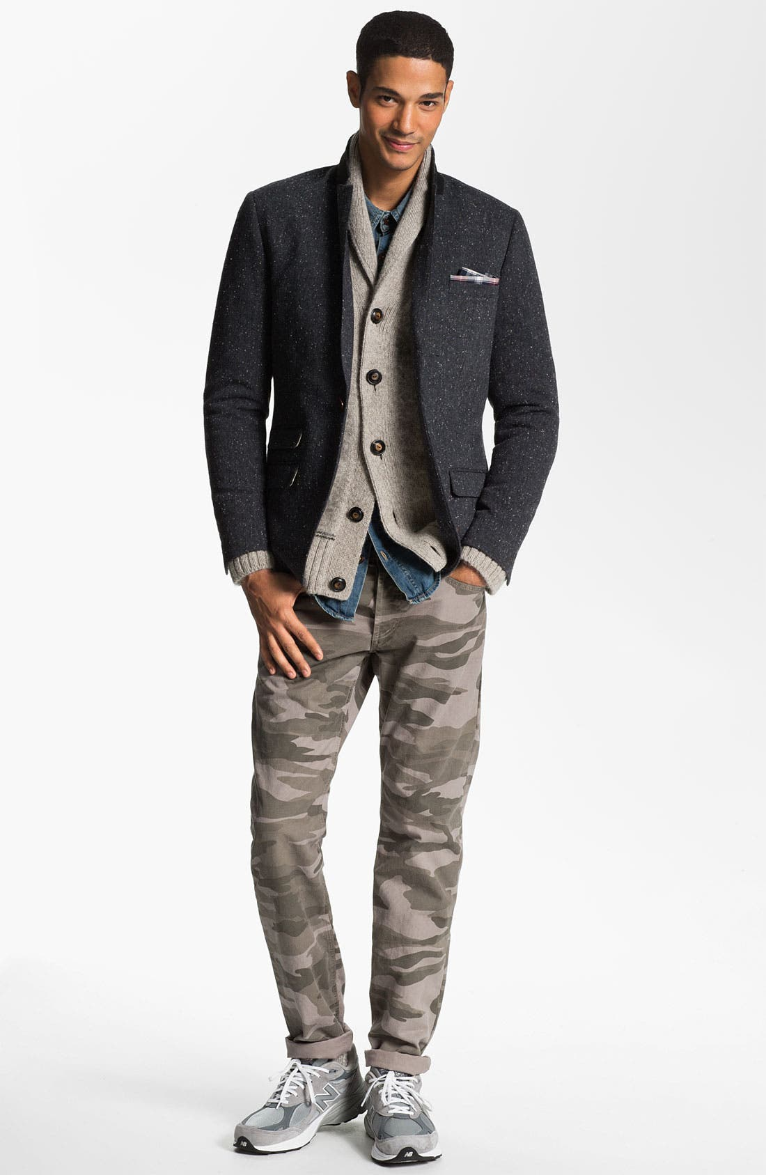 Alternate Image 1 Selected - Original Penguin Blazer, Vince Shawl Collar Cardigan, Obey Shirt & Splendid Mills Slim Straight Leg Jeans