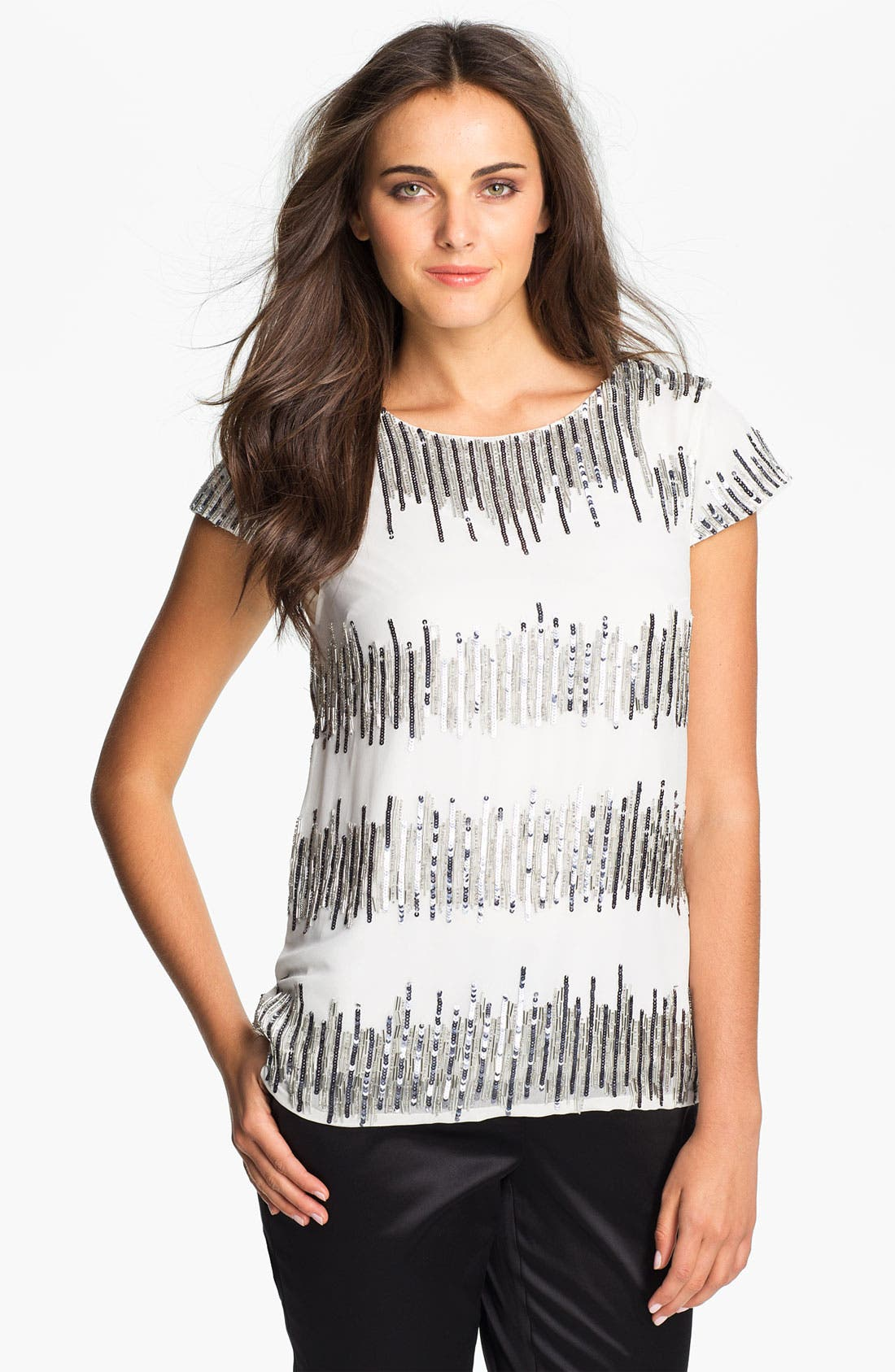 Alternate Image 1 Selected - Adrianna Papell Short Sleeve Sequin Chiffon Blouse