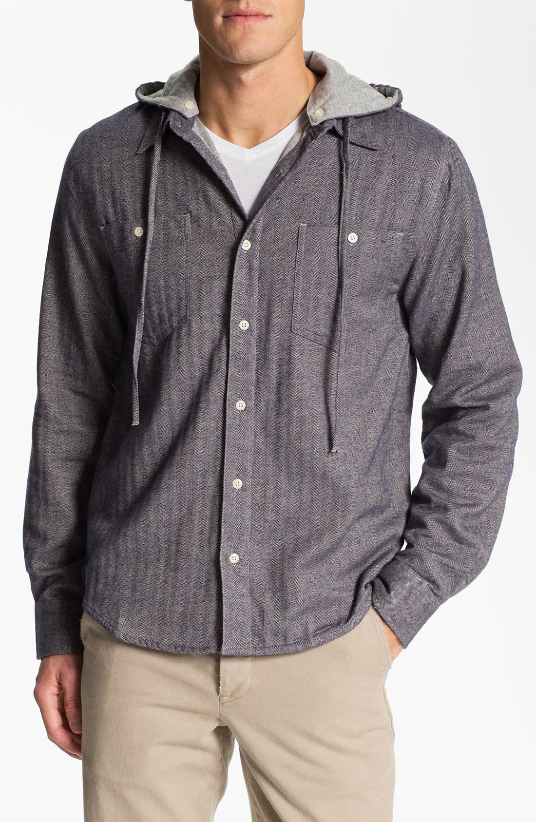 Alternate Image 1 Selected - Threads for Thought Herringbone Flannel Shirt with Removable Hood