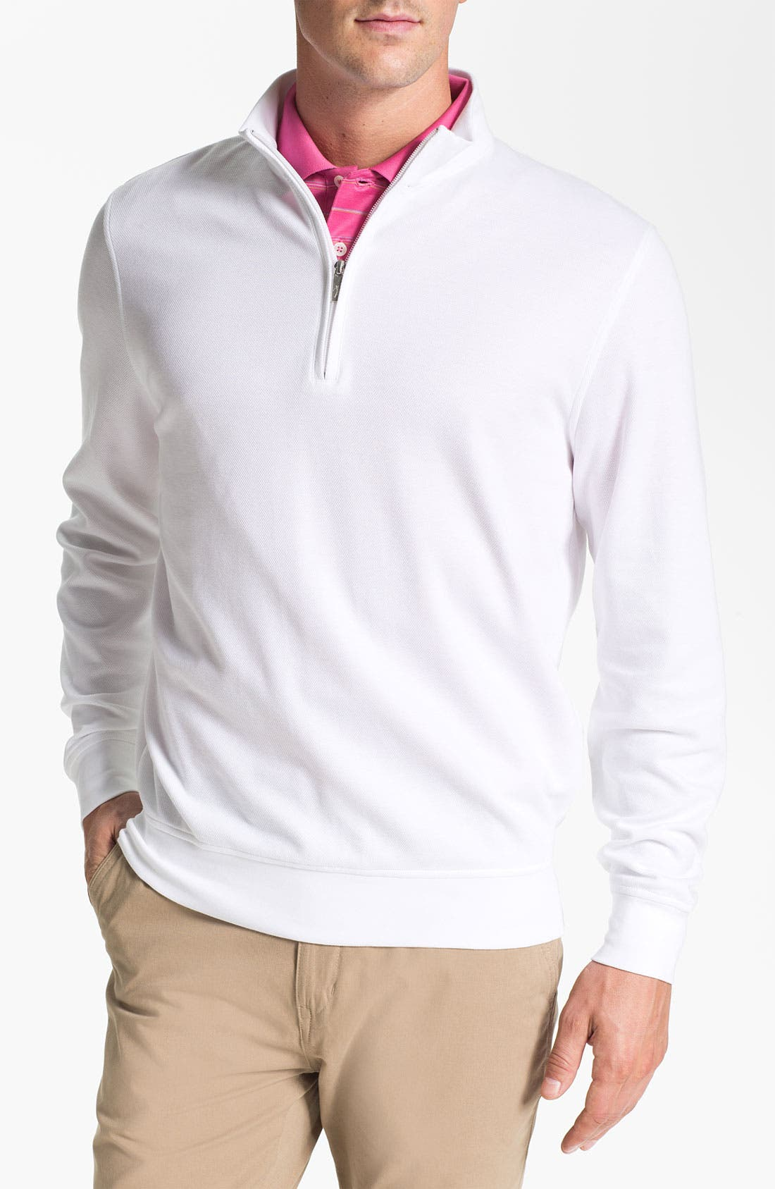 Alternate Image 1 Selected - Bobby Jones Quarter Zip Jacquard Pullover