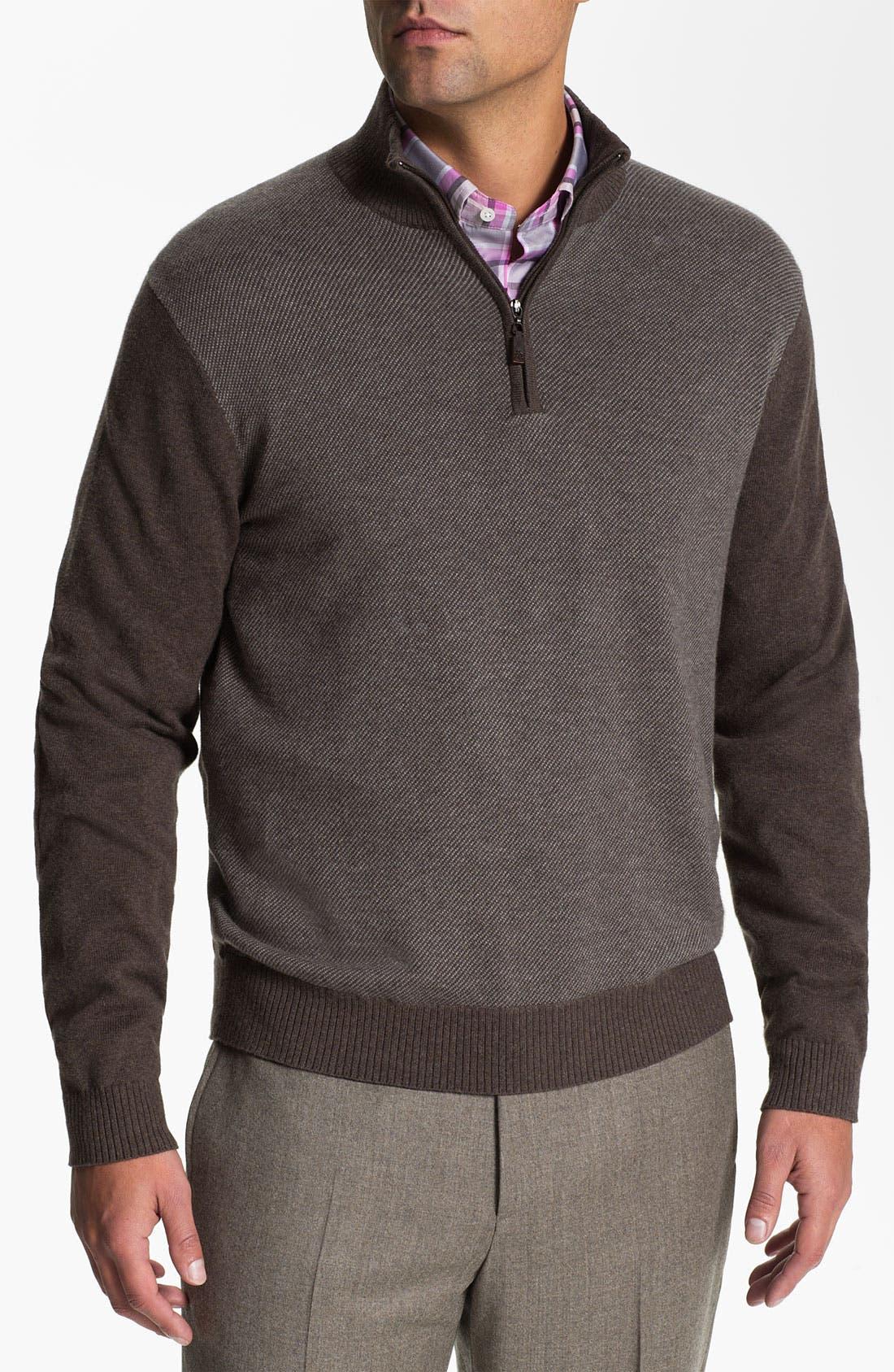 Main Image - Robert Talbott Quarter Zip Cotton & Cashmere Sweater