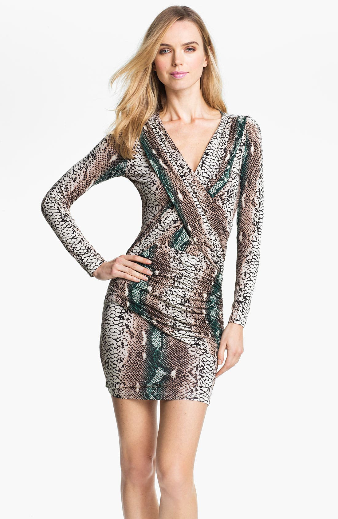 Alternate Image 1 Selected - Tart Snakeskin Print Surplice Sheath Dress