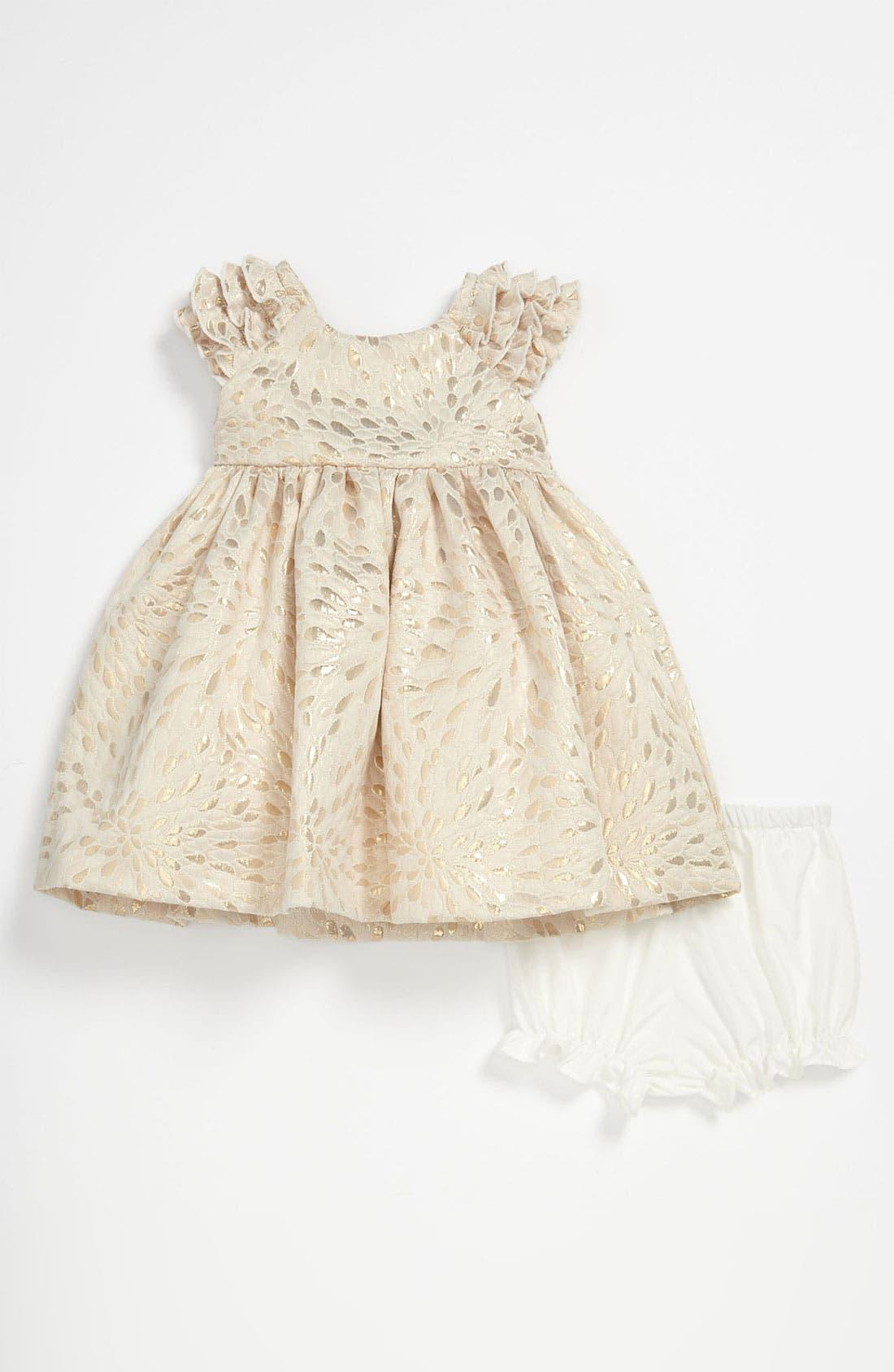 Alternate Image 1 Selected - Laura Ashley Brocade Dress & Bloomers (Infant)