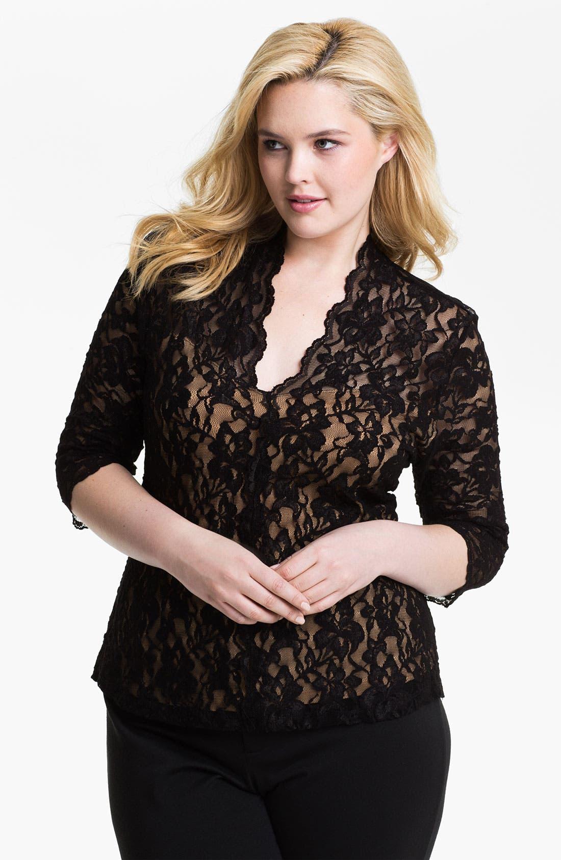 Main Image - Karen Kane 'Kate' Lace Top (Plus)